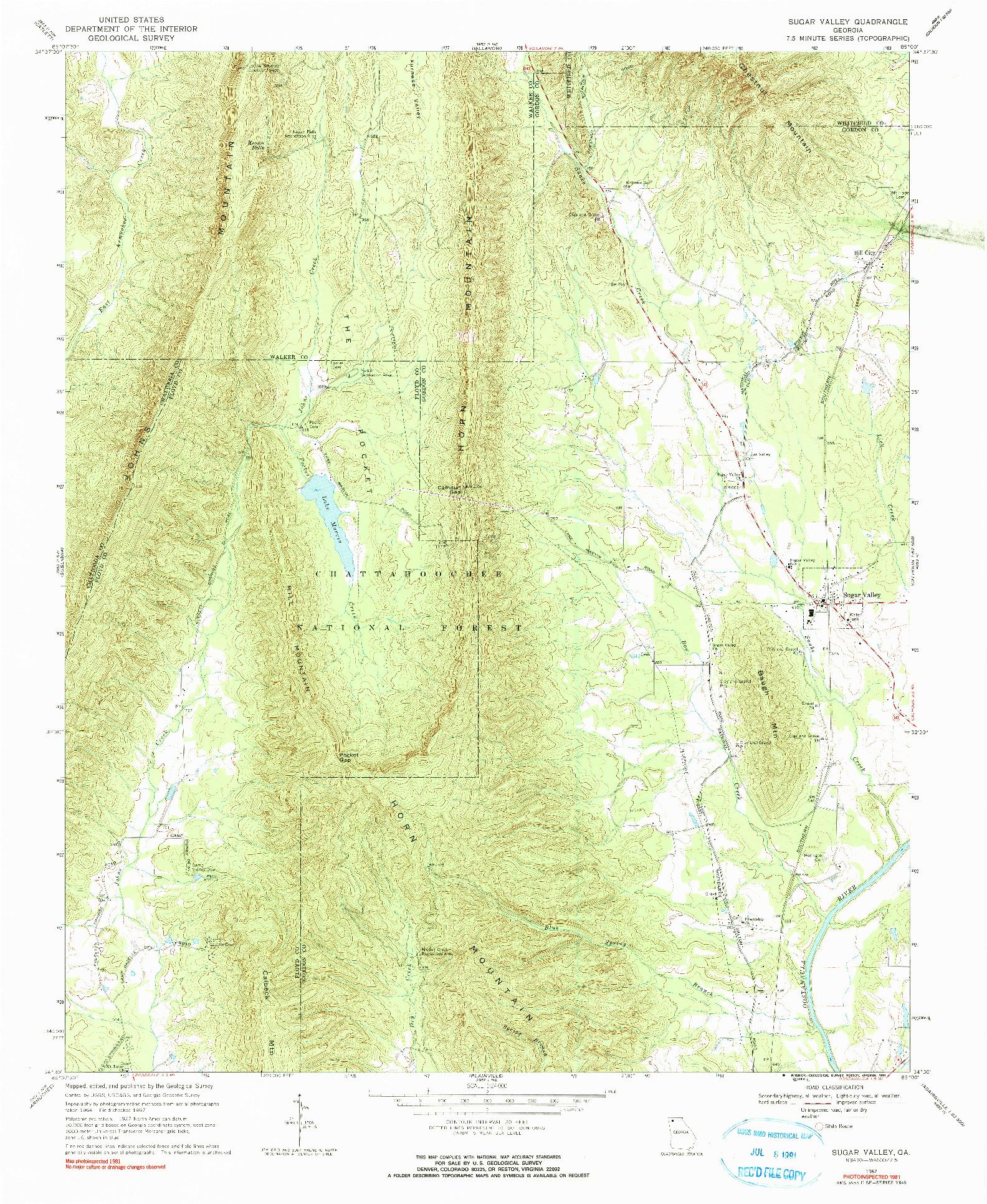 USGS 1:24000-SCALE QUADRANGLE FOR SUGAR VALLEY, GA 1967