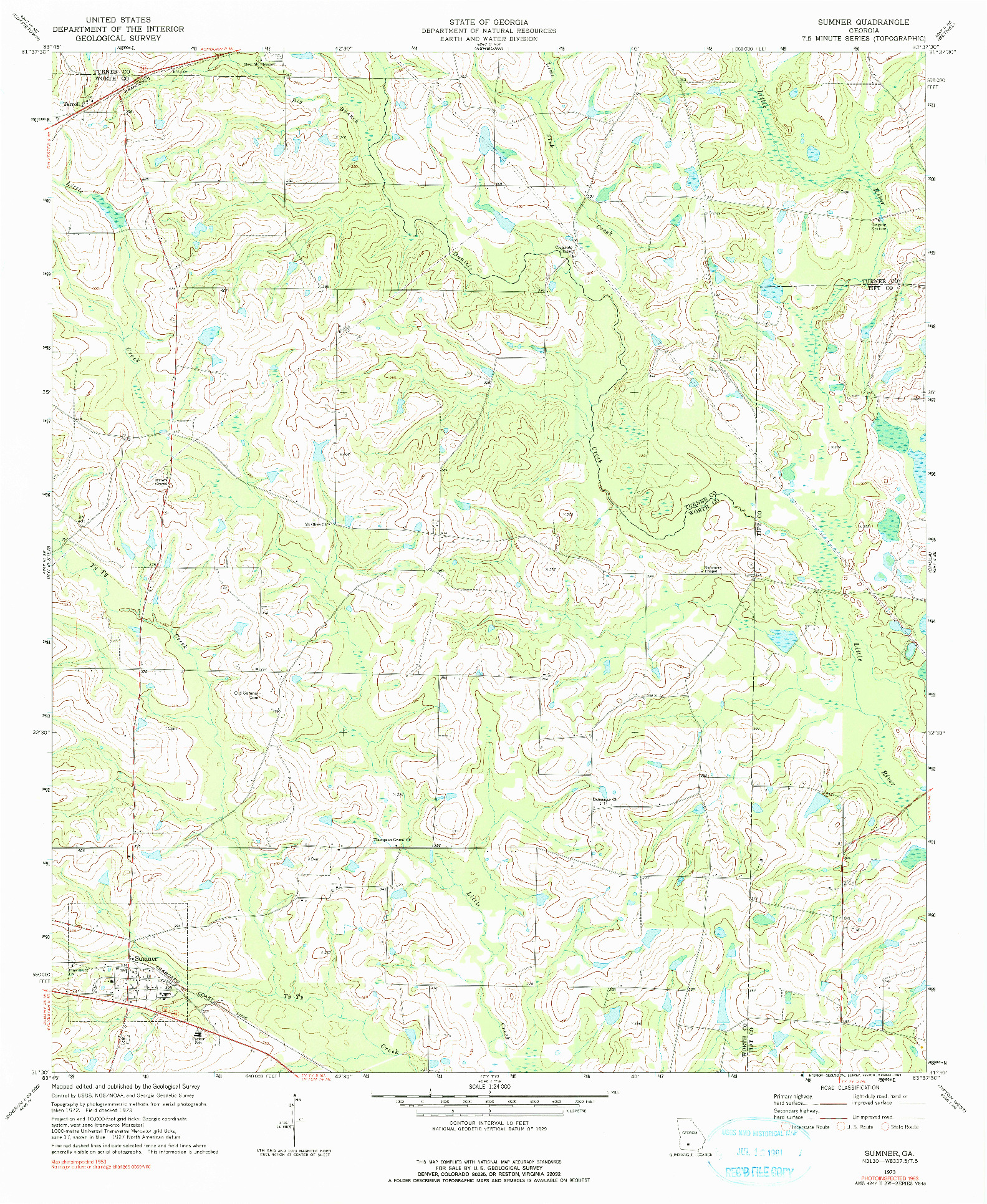 USGS 1:24000-SCALE QUADRANGLE FOR SUMNER, GA 1973