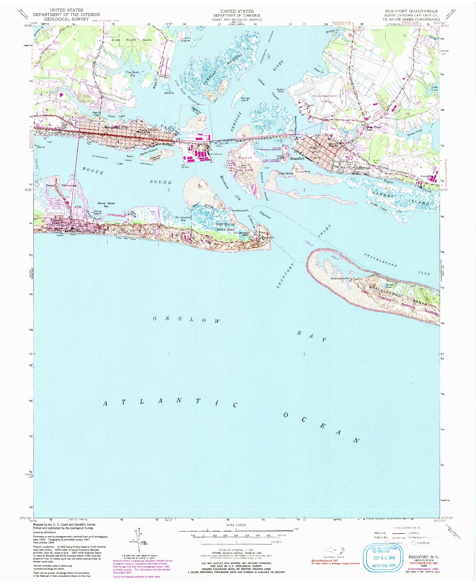 USGS 1:24000-SCALE QUADRANGLE FOR BEAUFORT, NC 1949