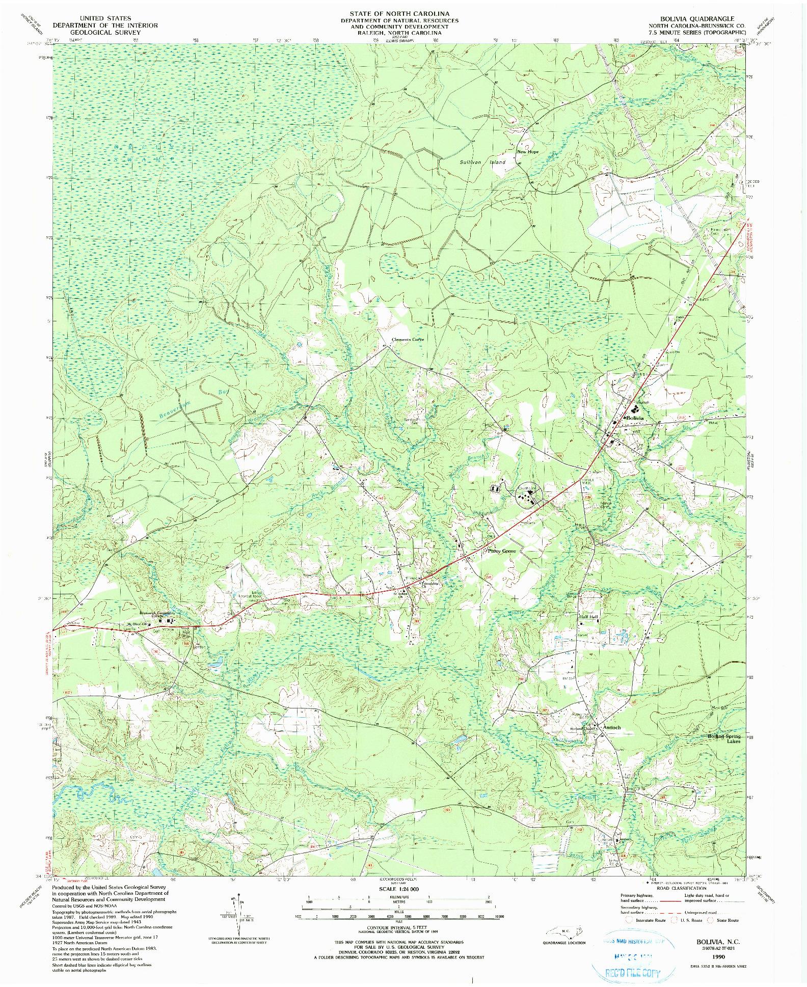 USGS 1:24000-SCALE QUADRANGLE FOR BOLIVIA, NC 1990