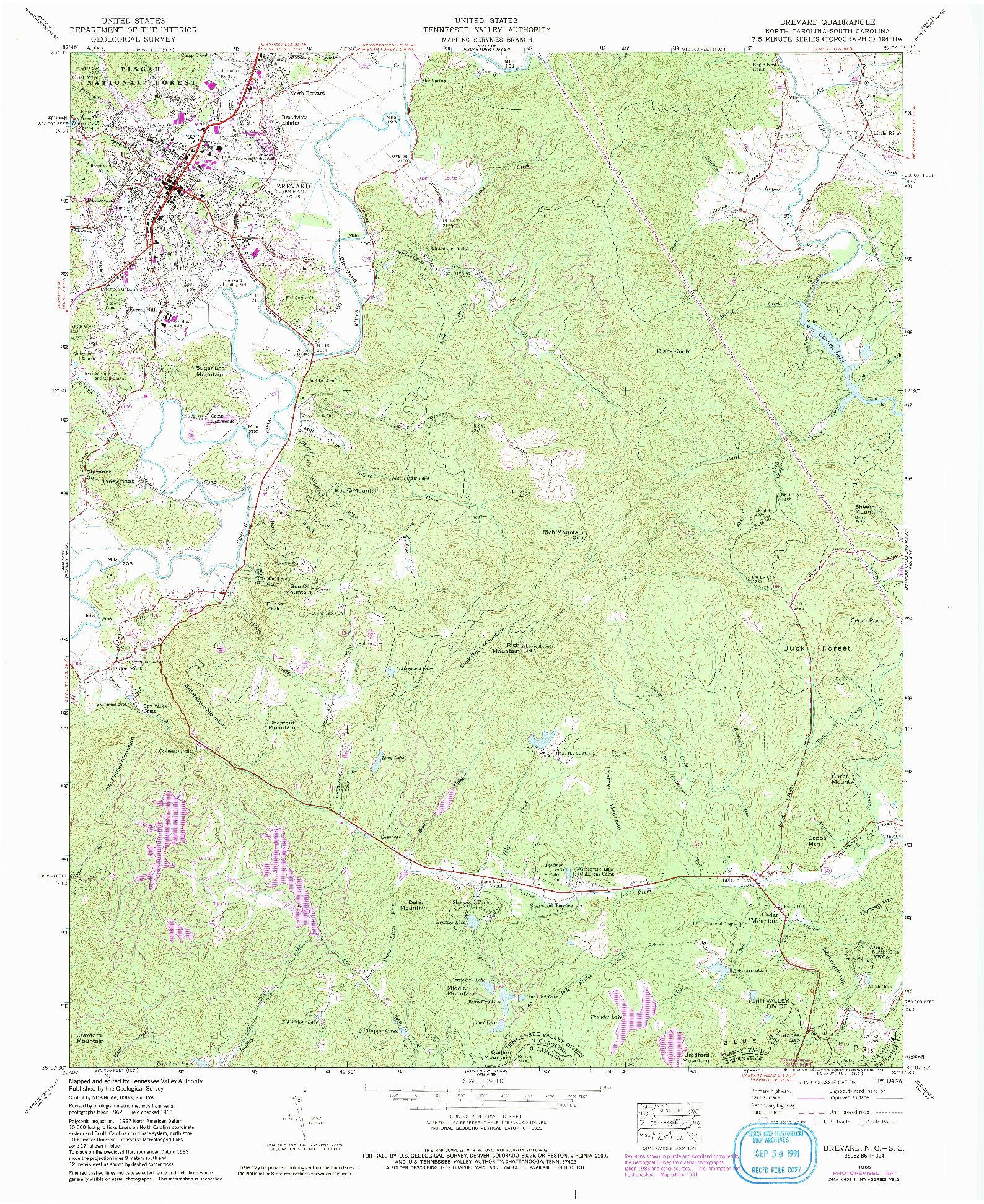 USGS 1:24000-SCALE QUADRANGLE FOR BREVARD, NC 1965