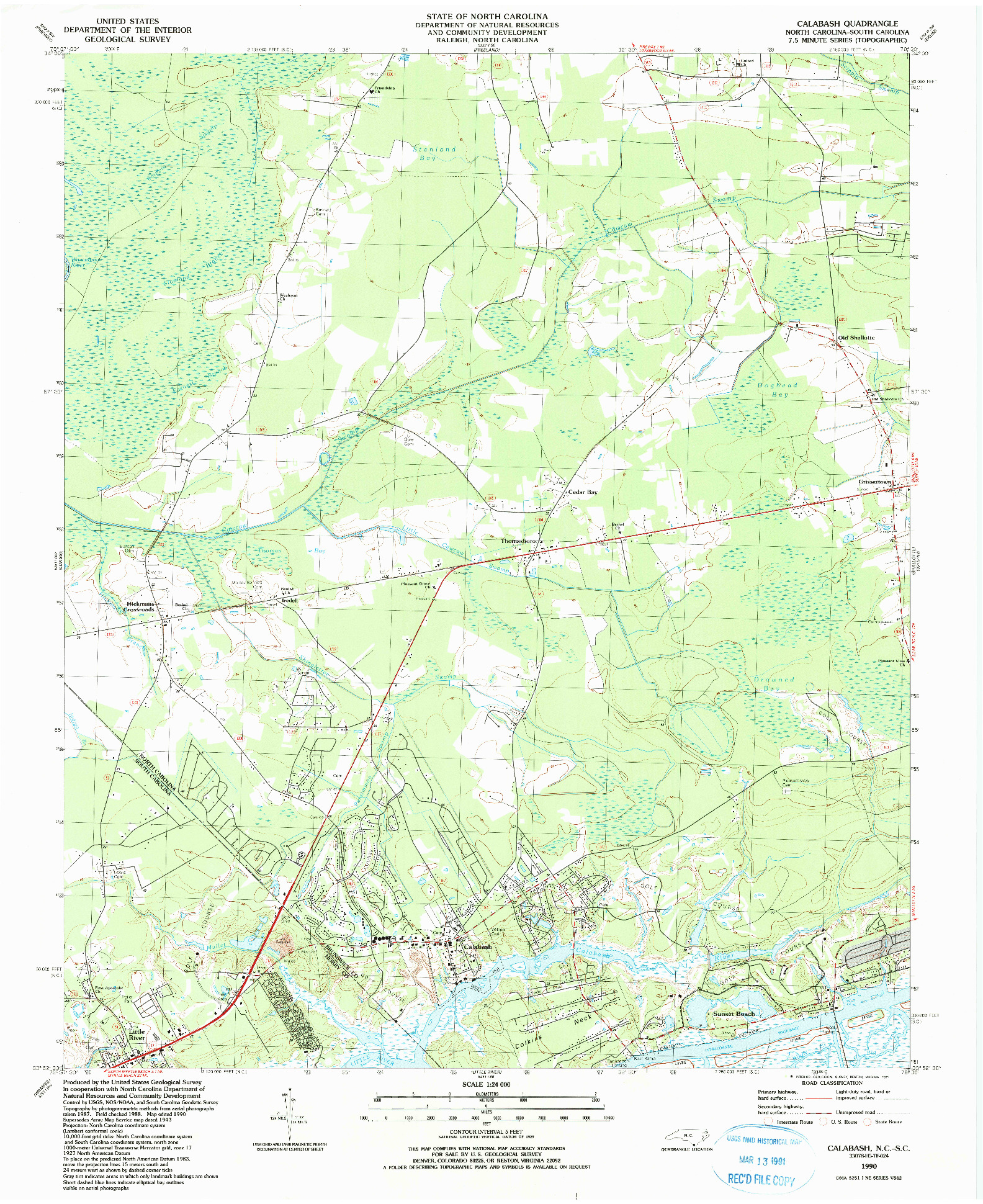 USGS 1:24000-SCALE QUADRANGLE FOR CALABASH, NC 1990