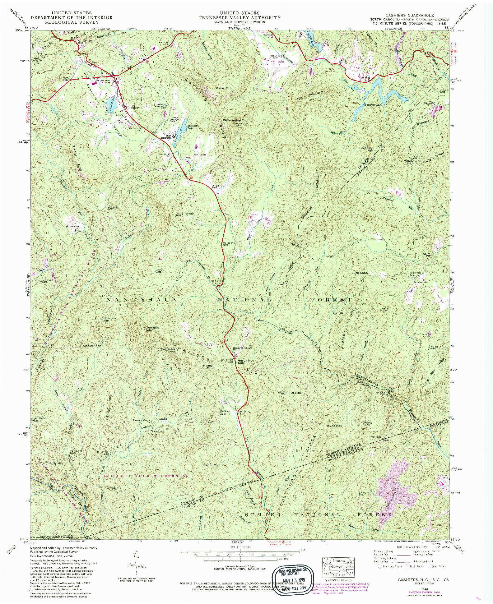USGS 1:24000-SCALE QUADRANGLE FOR CASHIERS, NC 1946
