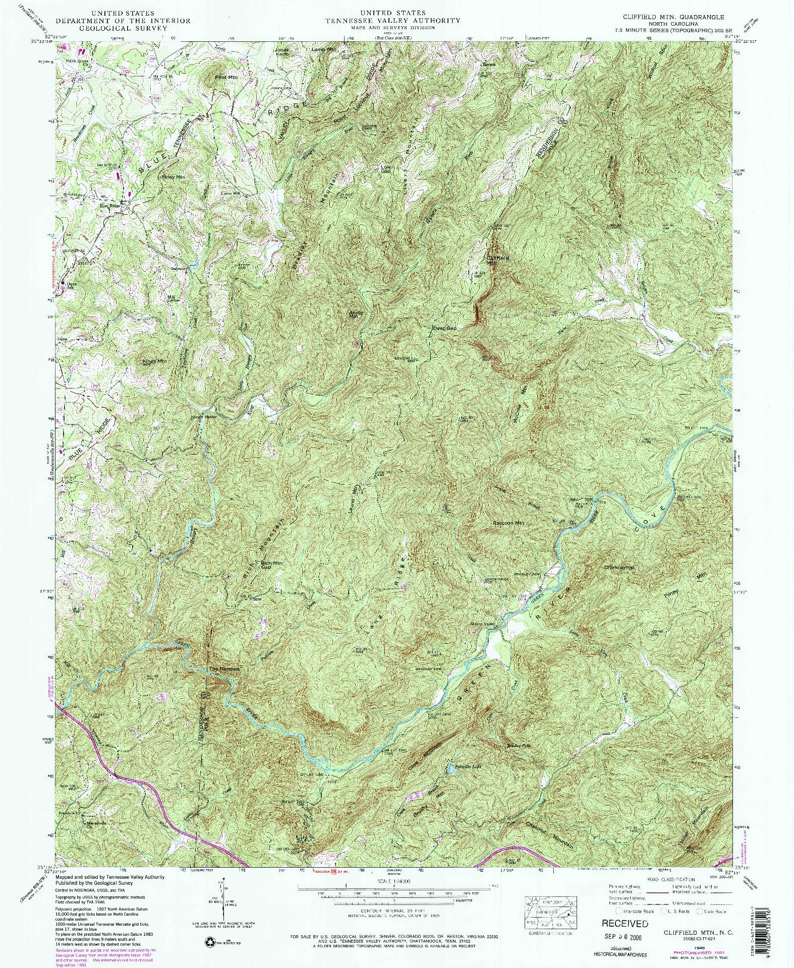 USGS 1:24000-SCALE QUADRANGLE FOR CLIFFIELD MTN., NC 1946
