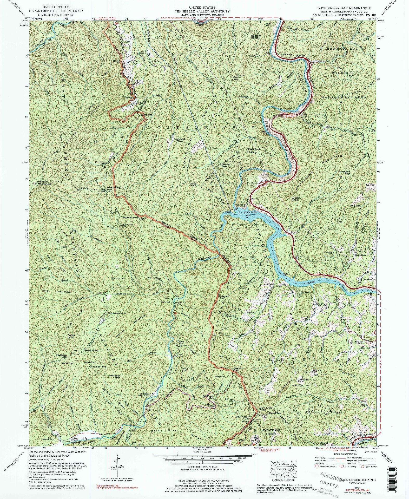 USGS 1:24000-SCALE QUADRANGLE FOR COVE CREEK GAP, NC 1967