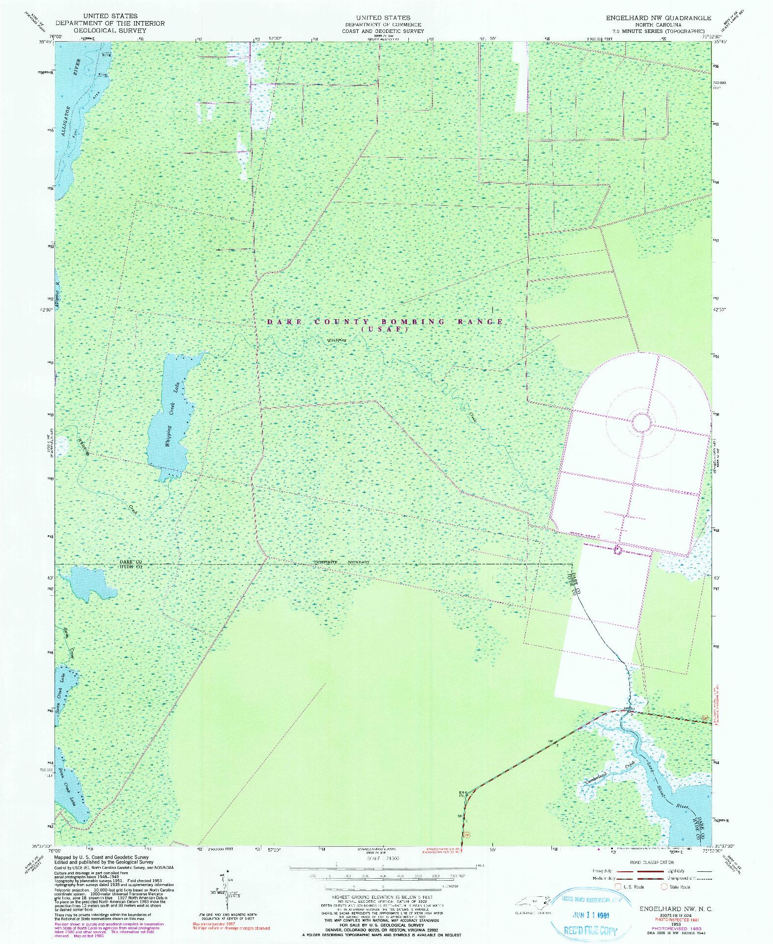 USGS 1:24000-SCALE QUADRANGLE FOR ENGELHARD NW, NC 1953