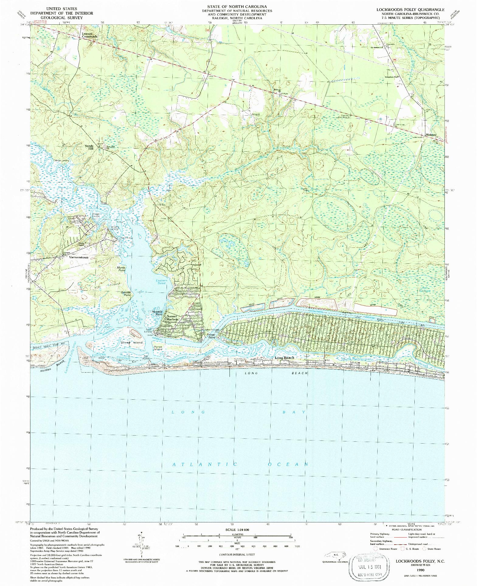 USGS 1:24000-SCALE QUADRANGLE FOR LOCKWOODS FOLLY, NC 1990
