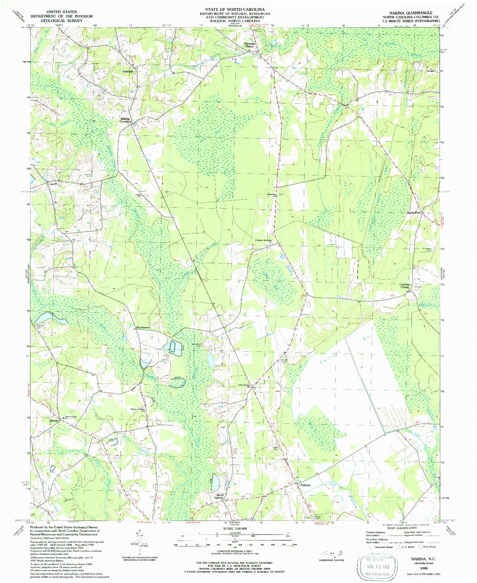 USGS 1:24000-SCALE QUADRANGLE FOR NAKINA, NC 1990