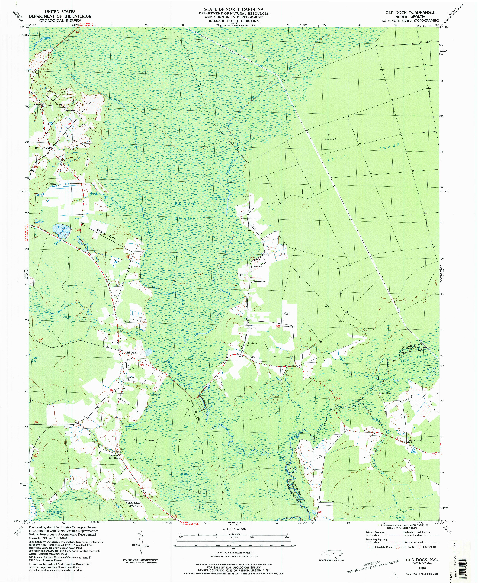 USGS 1:24000-SCALE QUADRANGLE FOR OLD DOCK, NC 1990