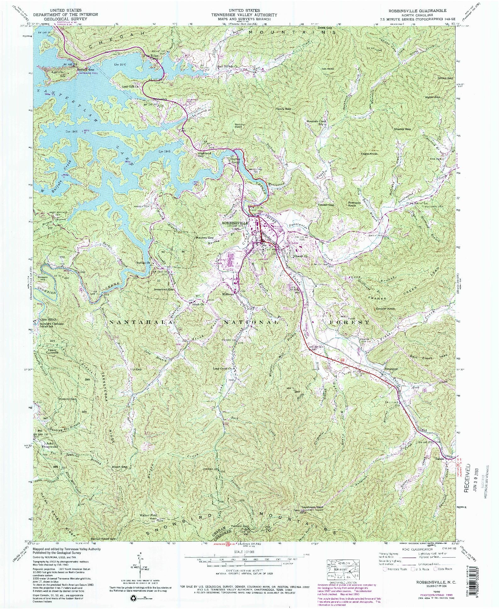 USGS 1:24000-SCALE QUADRANGLE FOR ROBBINSVILLE, NC 1940