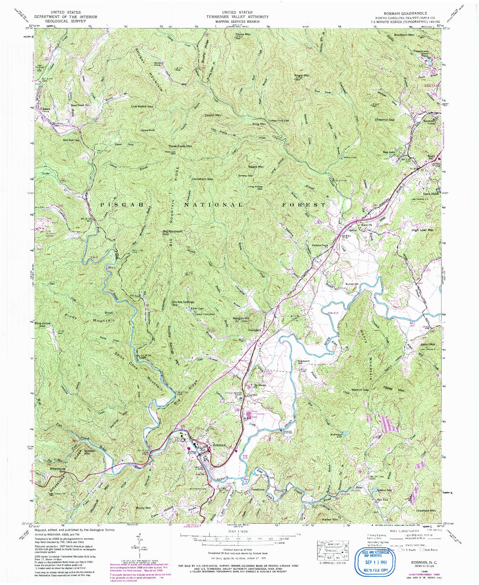 USGS 1:24000-SCALE QUADRANGLE FOR ROSMAN, NC 1945