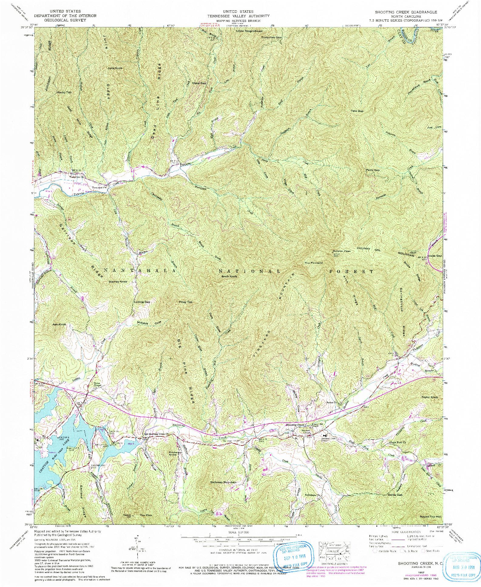USGS 1:24000-SCALE QUADRANGLE FOR SHOOTING CREEK, NC 1957