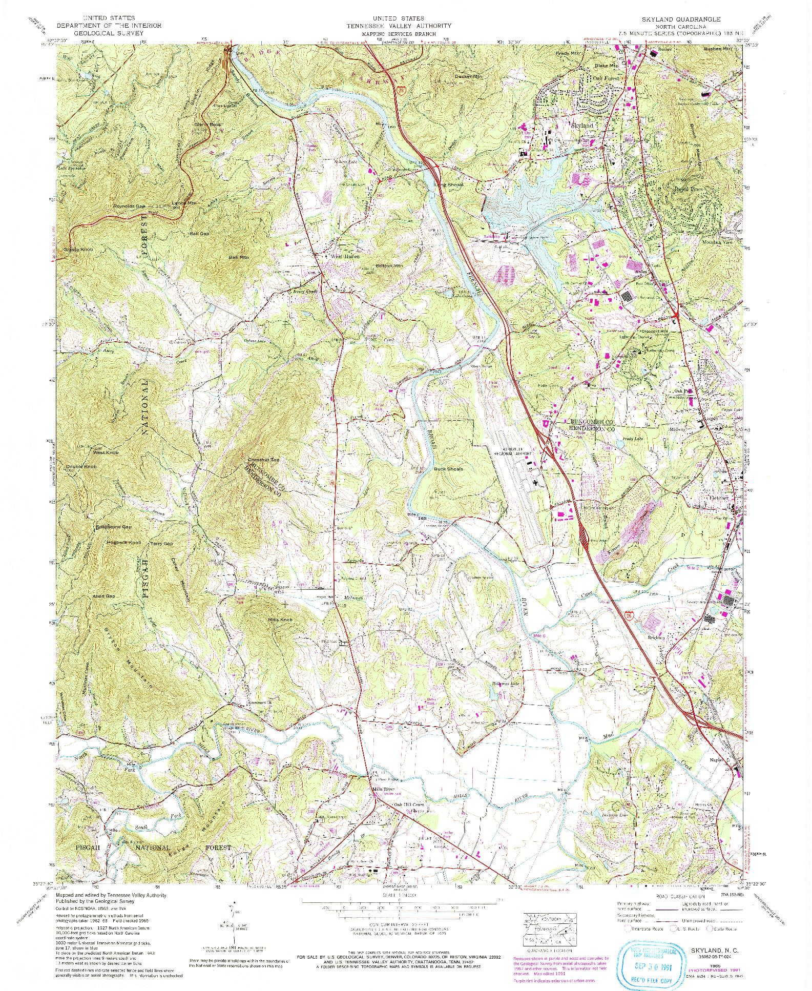 USGS 1:24000-SCALE QUADRANGLE FOR SKYLAND, NC 1965