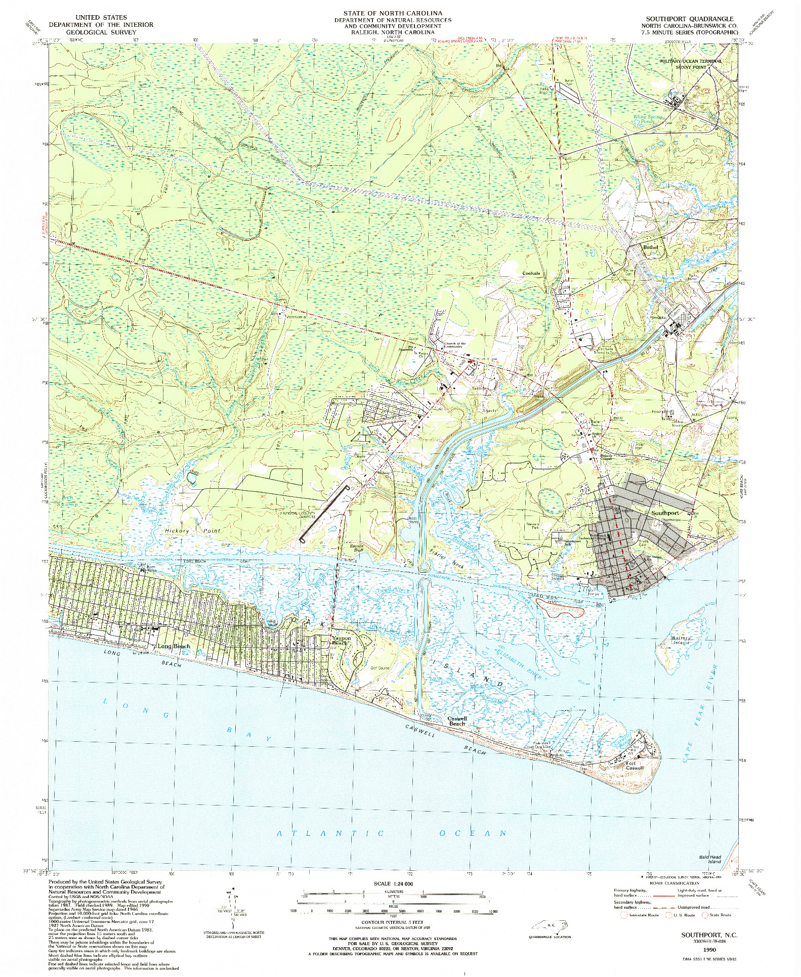 USGS 1:24000-SCALE QUADRANGLE FOR SOUTHPORT, NC 1990