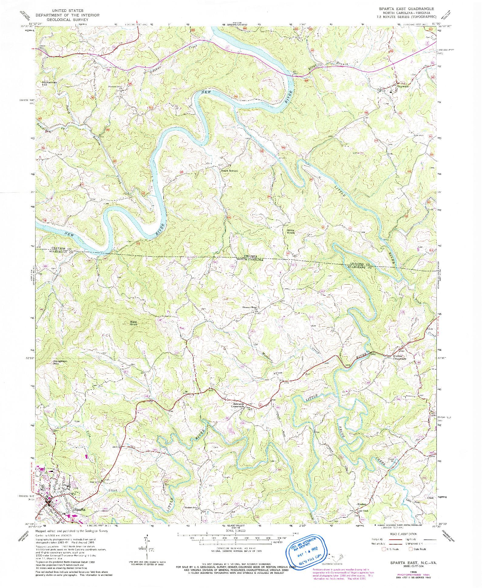 USGS 1:24000-SCALE QUADRANGLE FOR SPARTA EAST, NC 1966