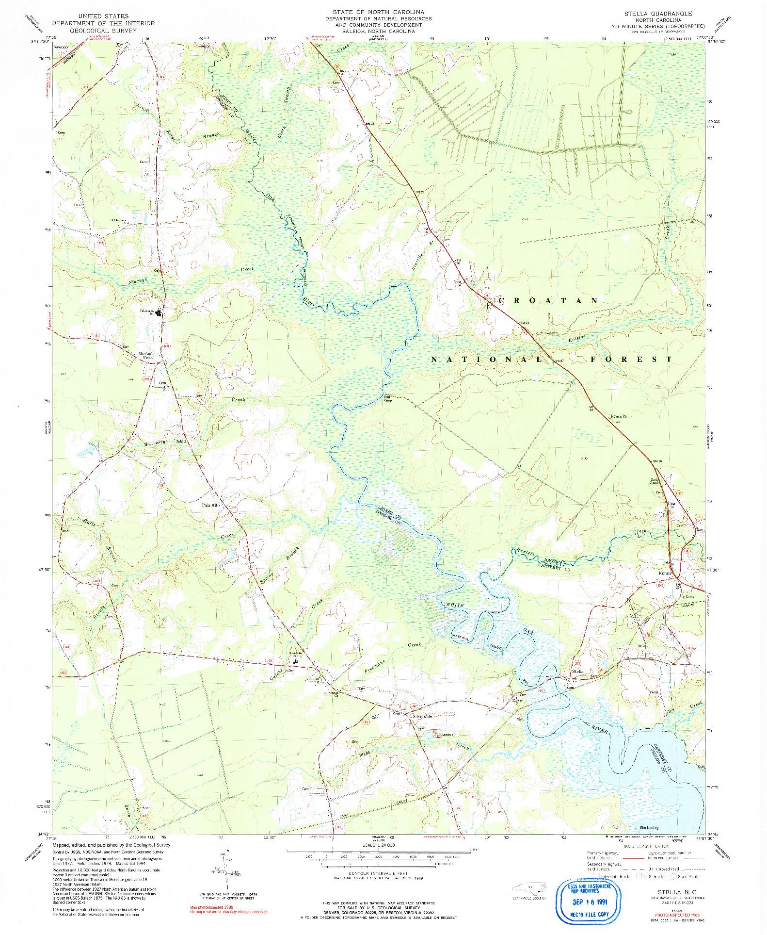 USGS 1:24000-SCALE QUADRANGLE FOR STELLA, NC 1984