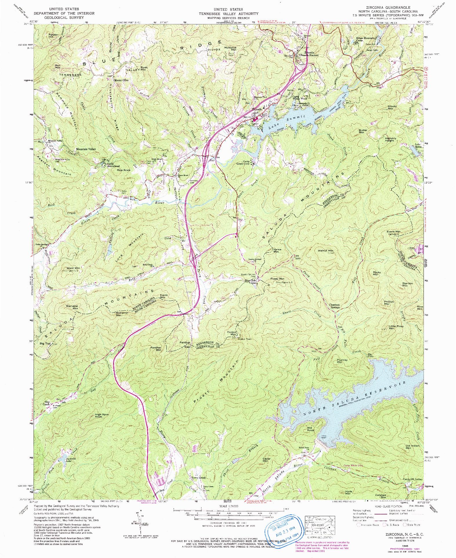 USGS 1:24000-SCALE QUADRANGLE FOR ZIRCONIA, NC 1946