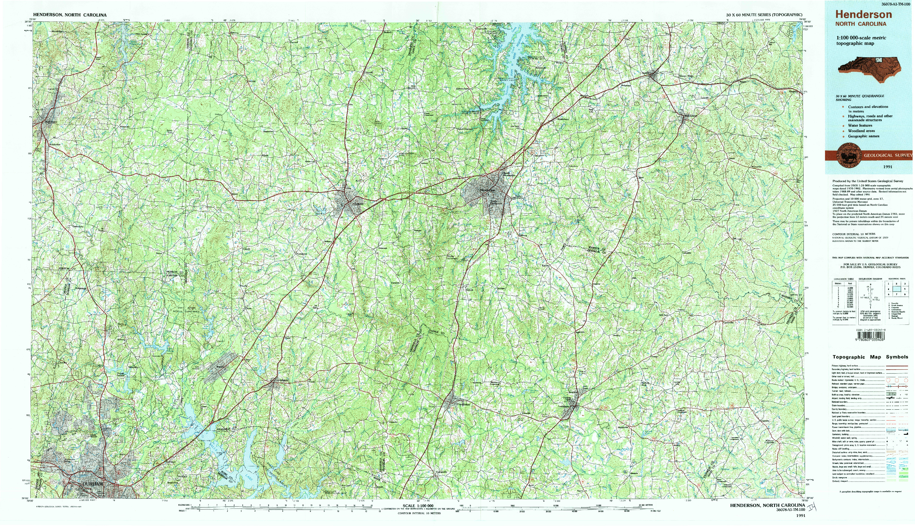 USGS 1:100000-SCALE QUADRANGLE FOR HENDERSON, NC 1991