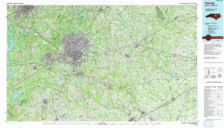 USGS 1:100000-SCALE QUADRANGLE FOR RALEIGH, NC 1990