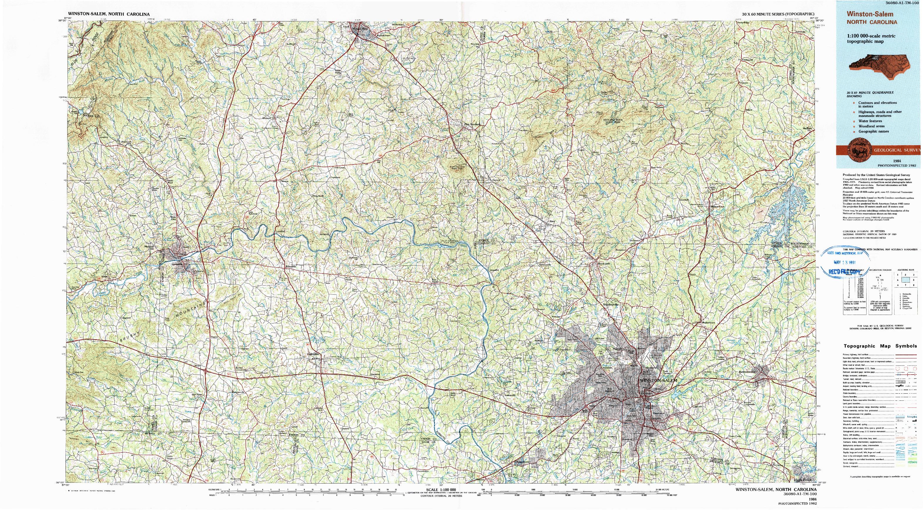 USGS 1:100000-SCALE QUADRANGLE FOR WINSTON-SALEM, NC 1984