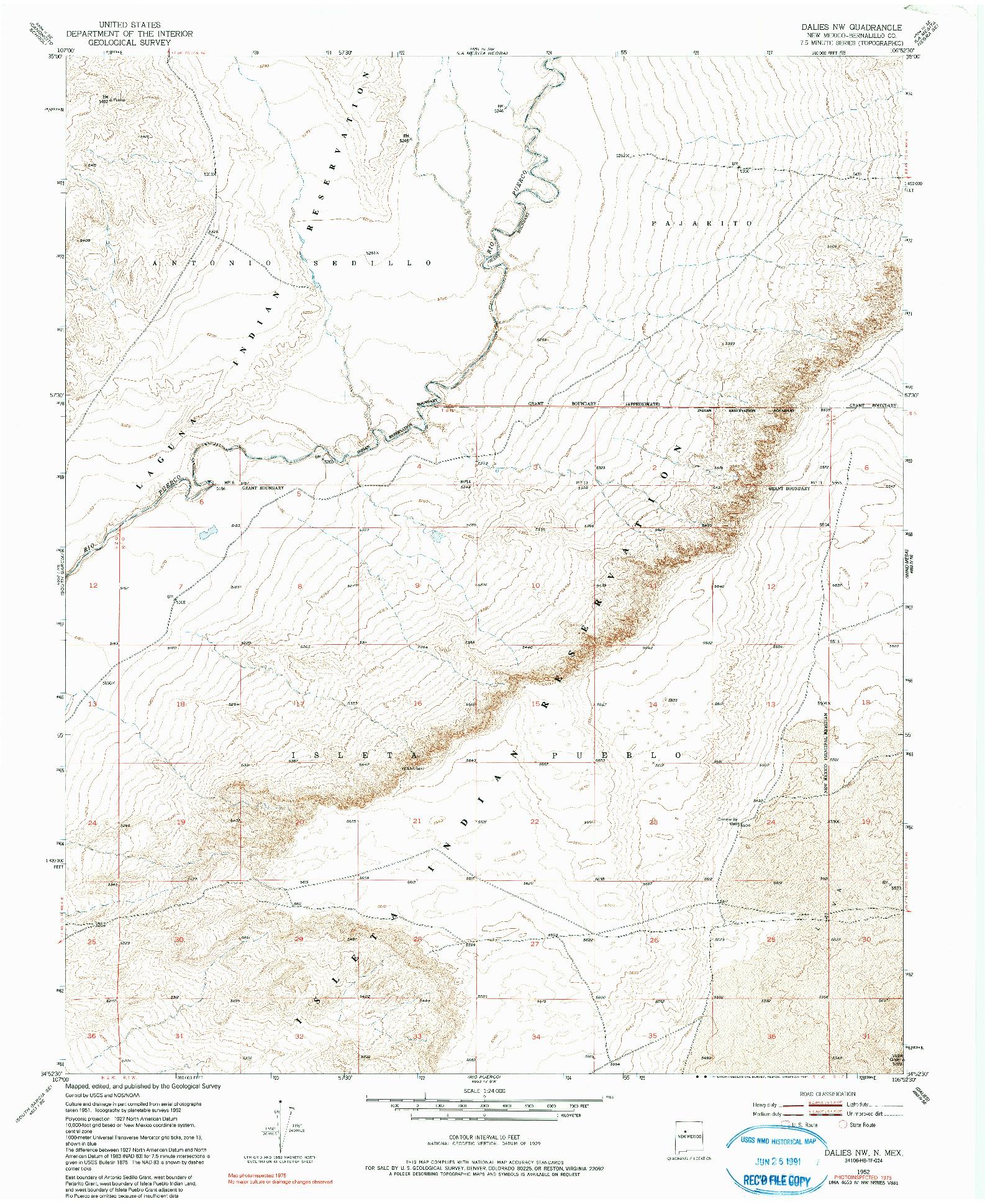 USGS 1:24000-SCALE QUADRANGLE FOR DALIES NW, NM 1952