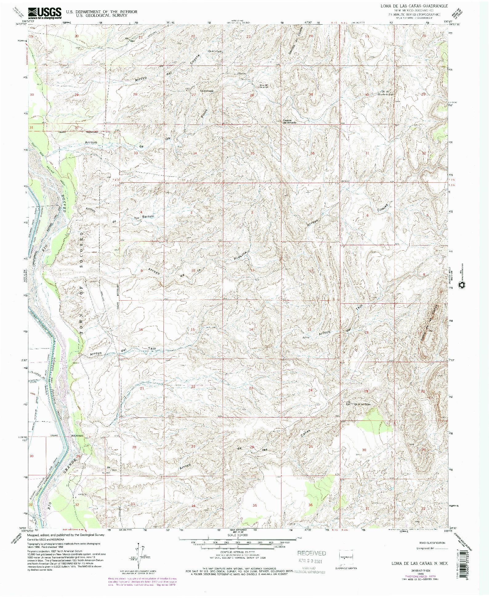 USGS 1:24000-SCALE QUADRANGLE FOR LOMA DE LAS CANAS, NM 1959