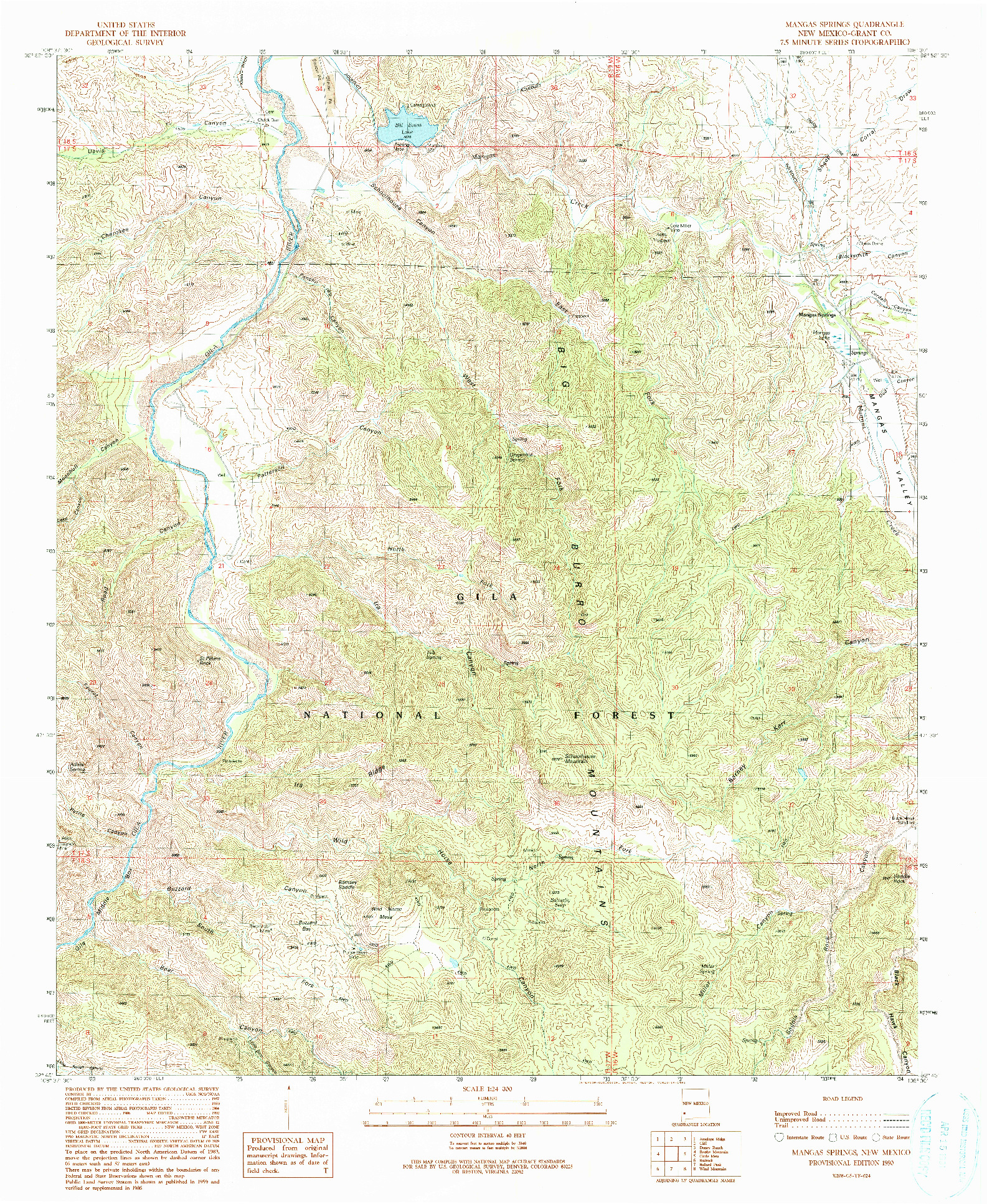 USGS 1:24000-SCALE QUADRANGLE FOR MANGAS SPRINGS, NM 1990