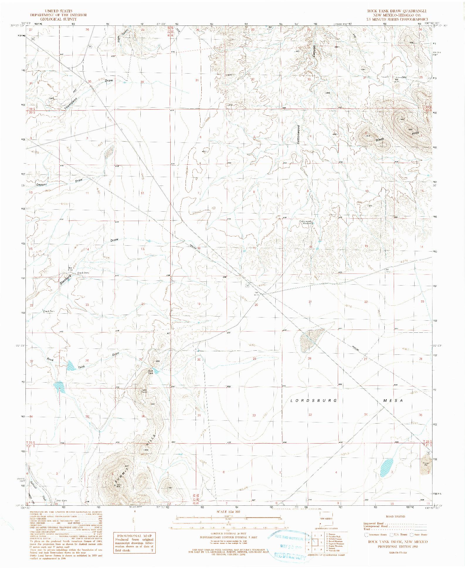 USGS 1:24000-SCALE QUADRANGLE FOR ROCK TANK DRAW, NM 1990