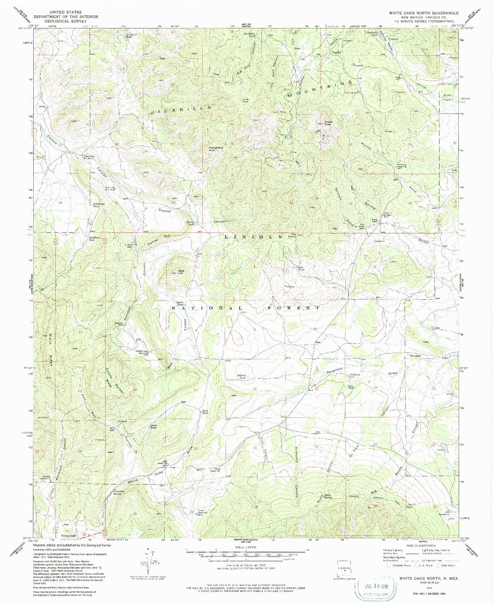 USGS 1:24000-SCALE QUADRANGLE FOR WHITE OAKS NORTH, NM 1973