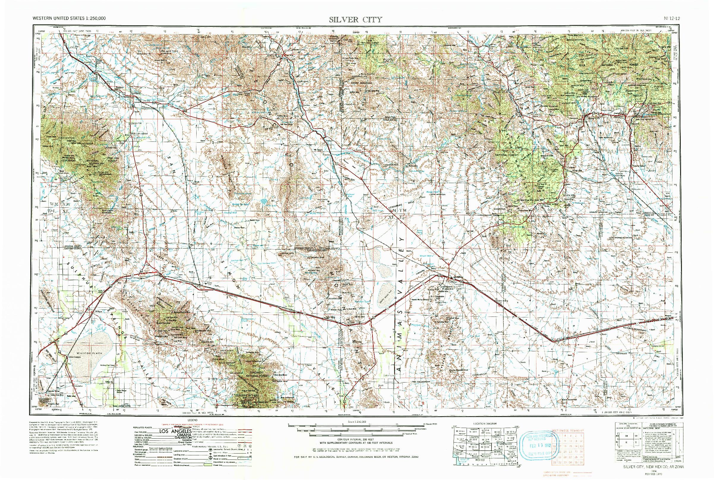 USGS 1:250000-SCALE QUADRANGLE FOR SILVER CITY, NM 1954