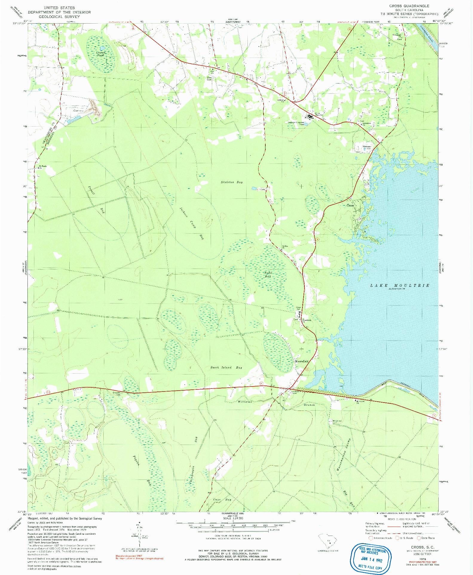USGS 1:24000-SCALE QUADRANGLE FOR CROSS, SC 1979