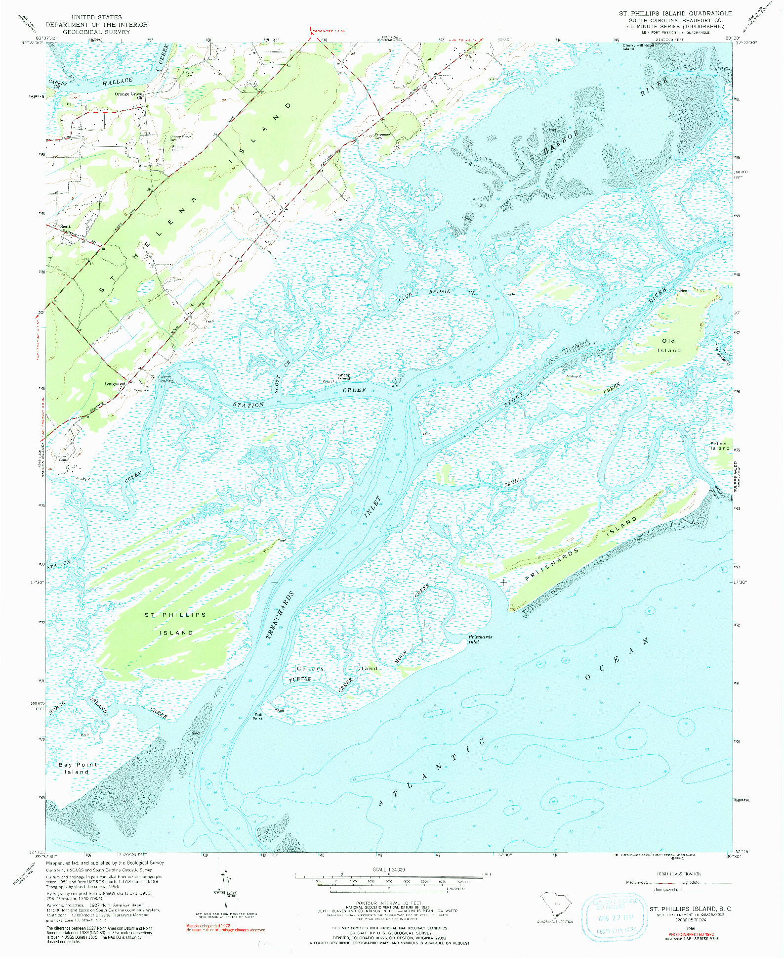 USGS 1:24000-SCALE QUADRANGLE FOR ST. PHILLIPS ISLAND, SC 1956
