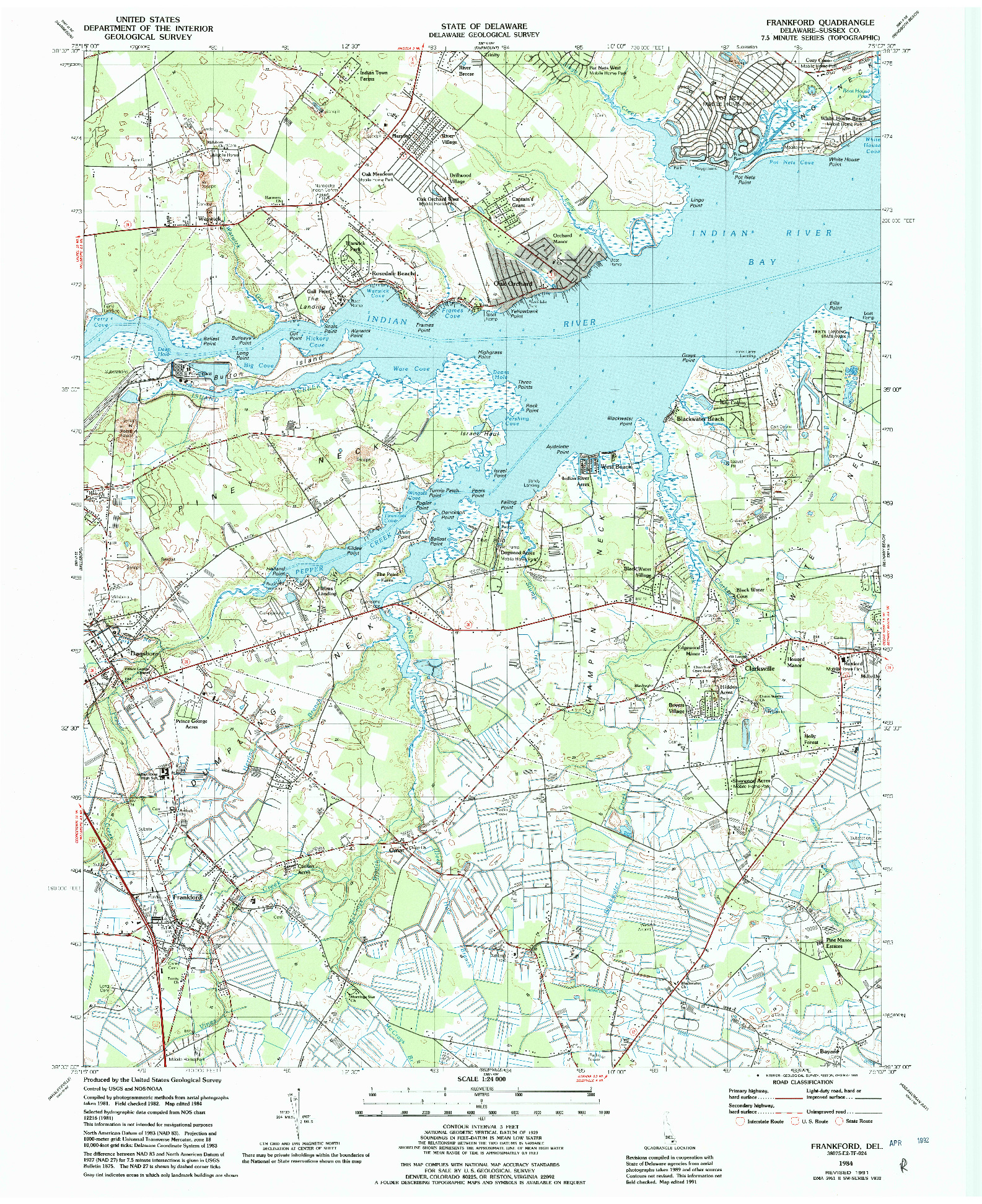 USGS 1:24000-SCALE QUADRANGLE FOR FRANKFORD, DE 1984