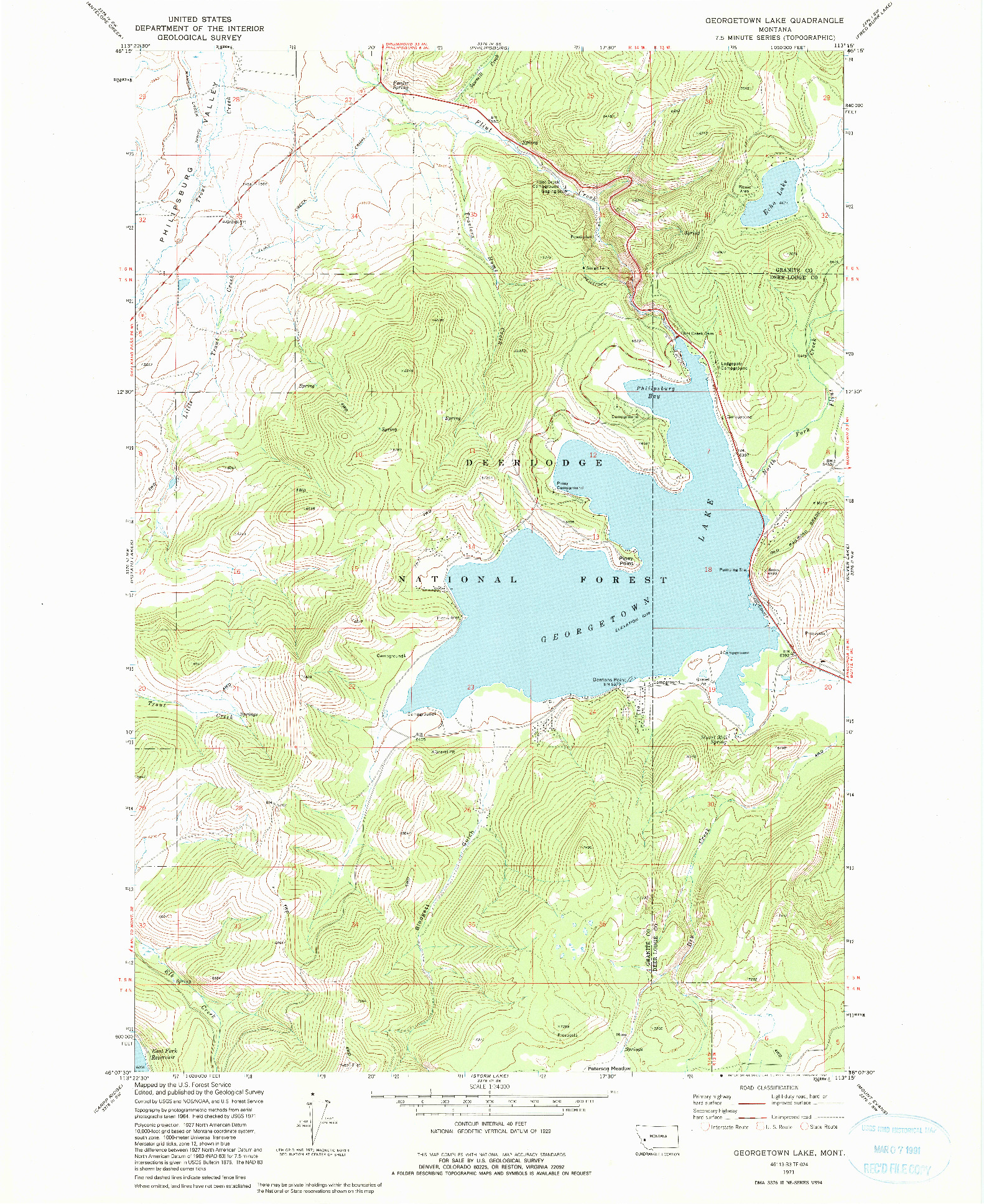 USGS 1:24000-SCALE QUADRANGLE FOR GEORGETOWN LAKE, MT 1971