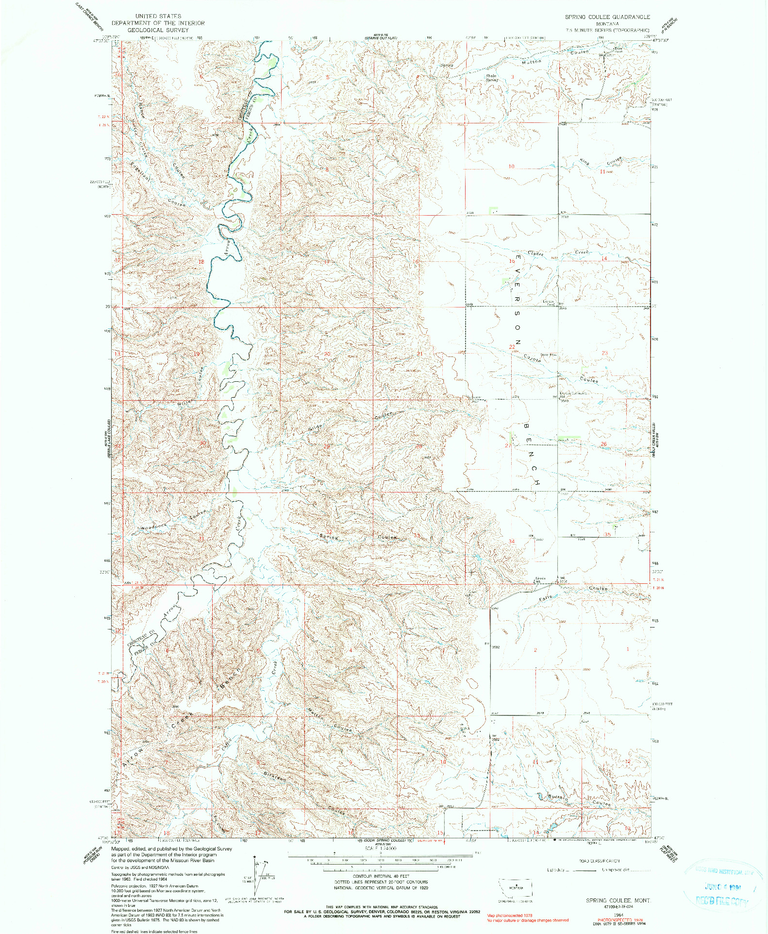 USGS 1:24000-SCALE QUADRANGLE FOR SPRING COULEE, MT 1964