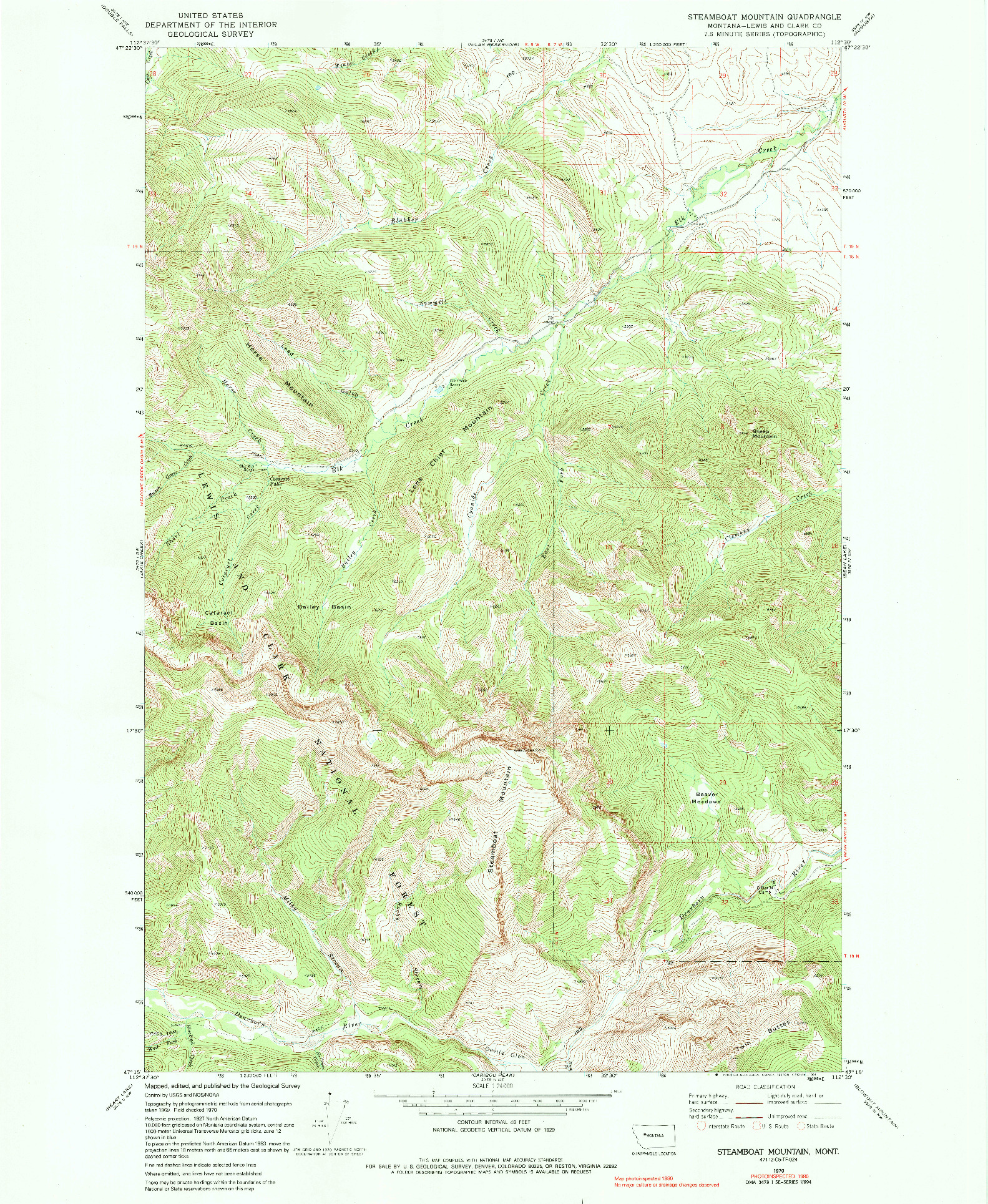 USGS 1:24000-SCALE QUADRANGLE FOR STEAMBOAT MOUNTAIN, MT 1970