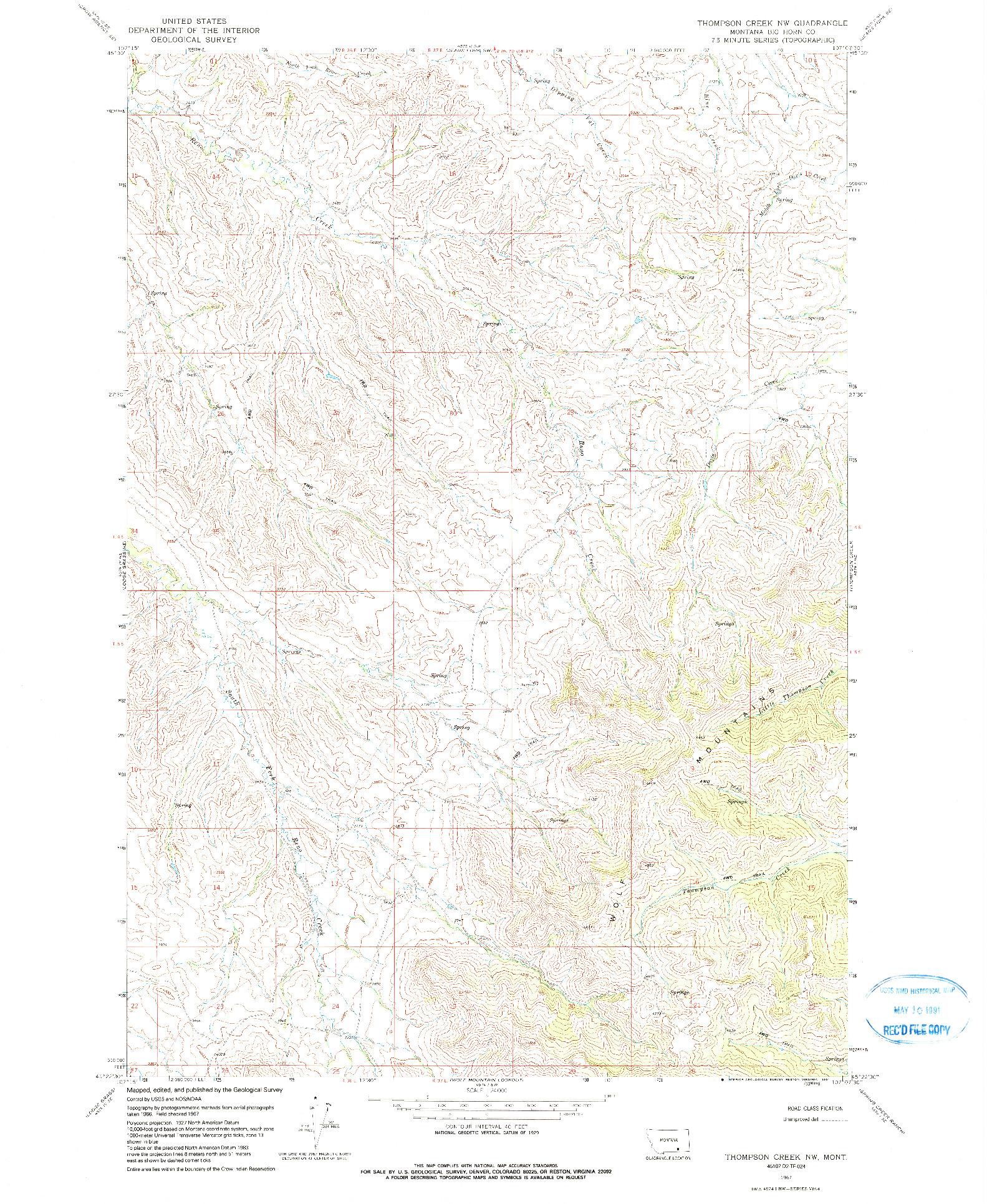 USGS 1:24000-SCALE QUADRANGLE FOR THOMPSON CREEK NW, MT 1967