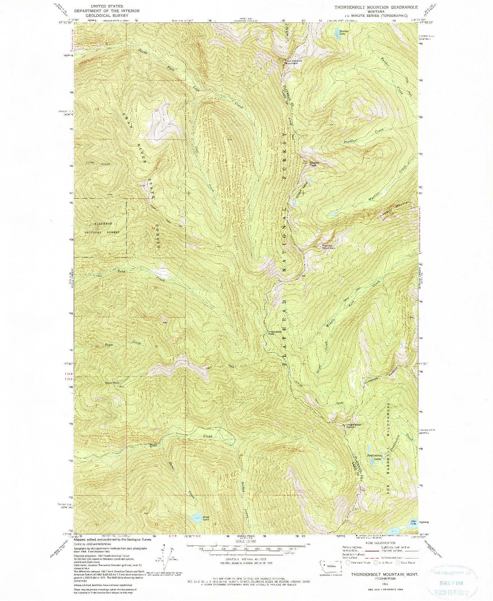 USGS 1:24000-SCALE QUADRANGLE FOR THUNDERBOLT MOUNTAIN, MT 1965