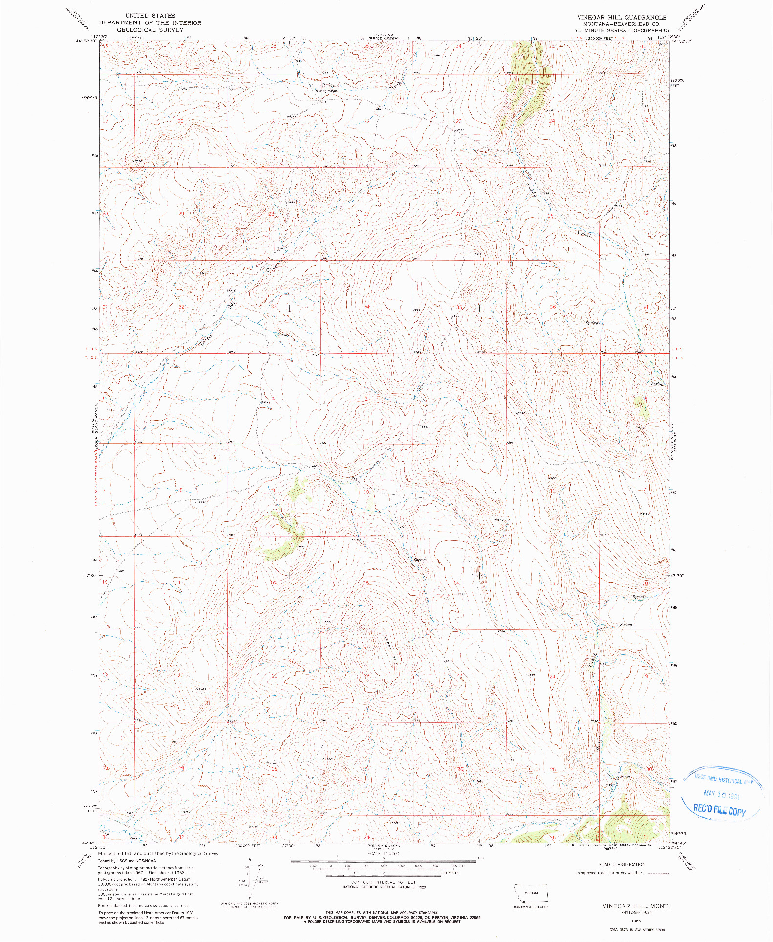 USGS 1:24000-SCALE QUADRANGLE FOR VINEGAR HILL, MT 1968