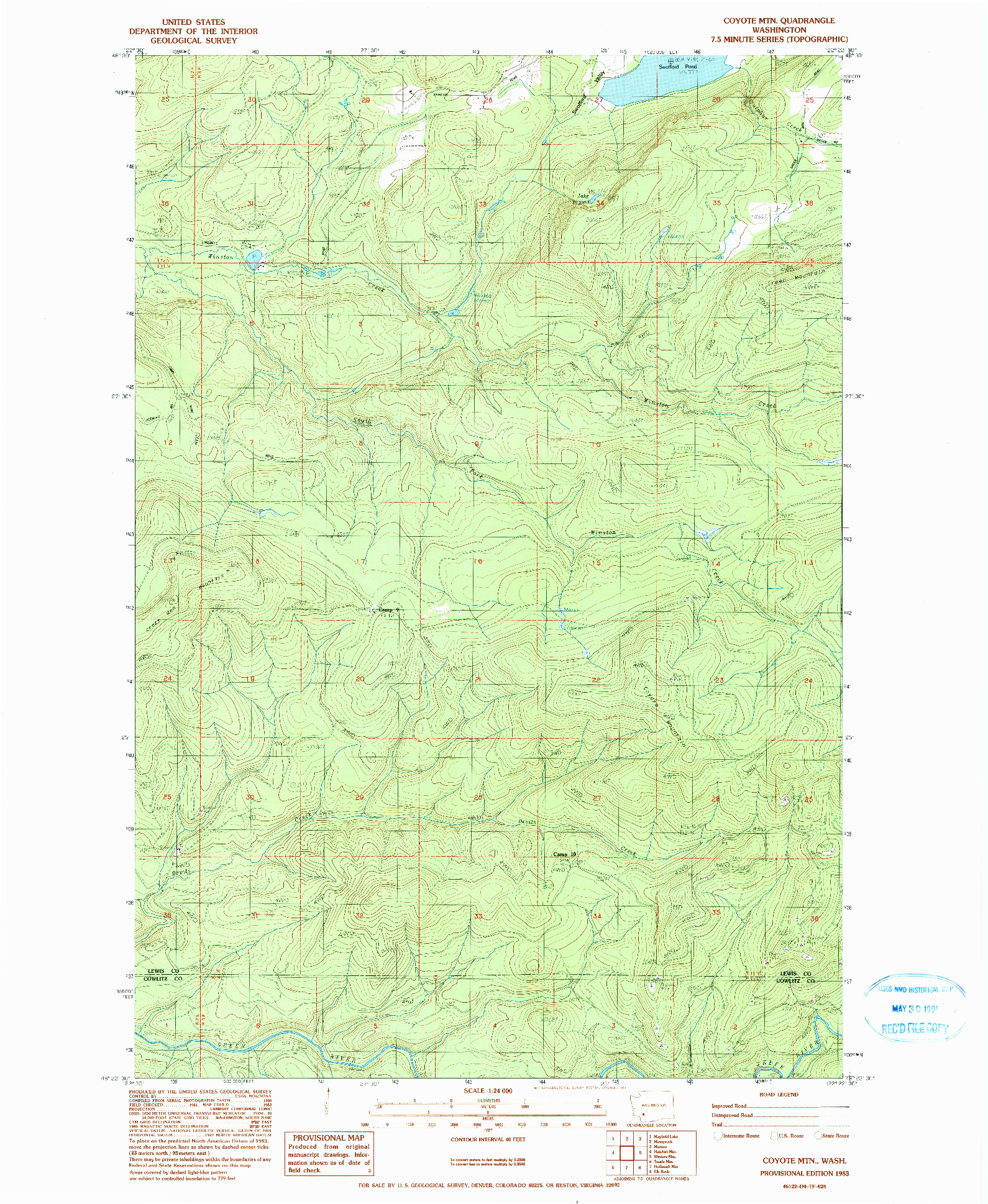 USGS 1:24000-SCALE QUADRANGLE FOR COYOTE MTN, WA 1983