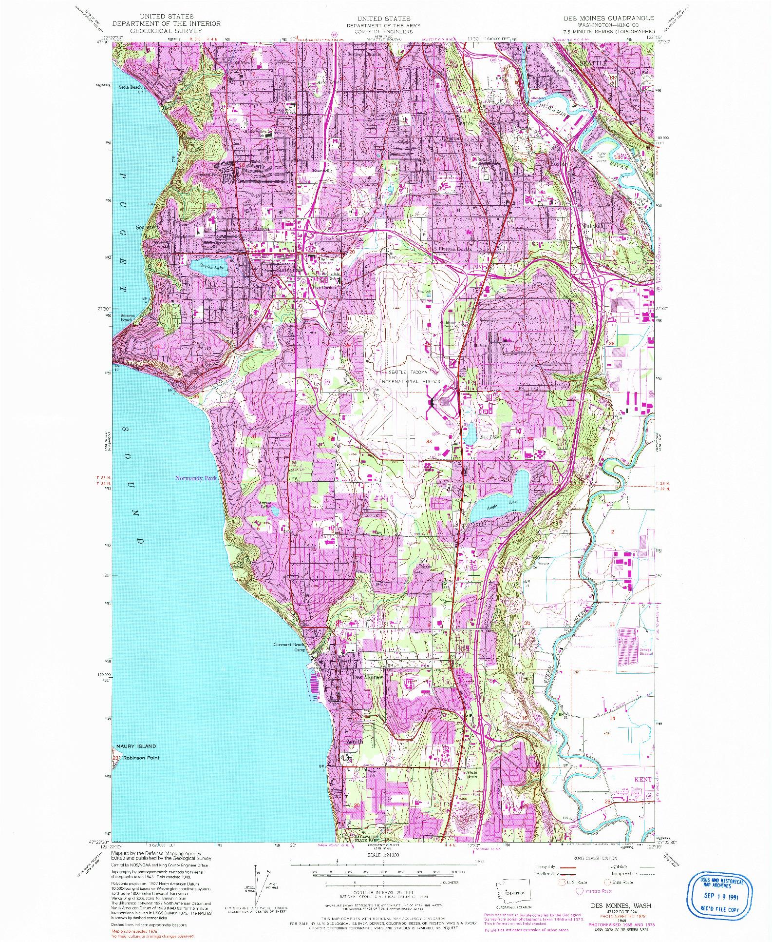 USGS 1:24000-SCALE QUADRANGLE FOR DES MOINES, WA 1949