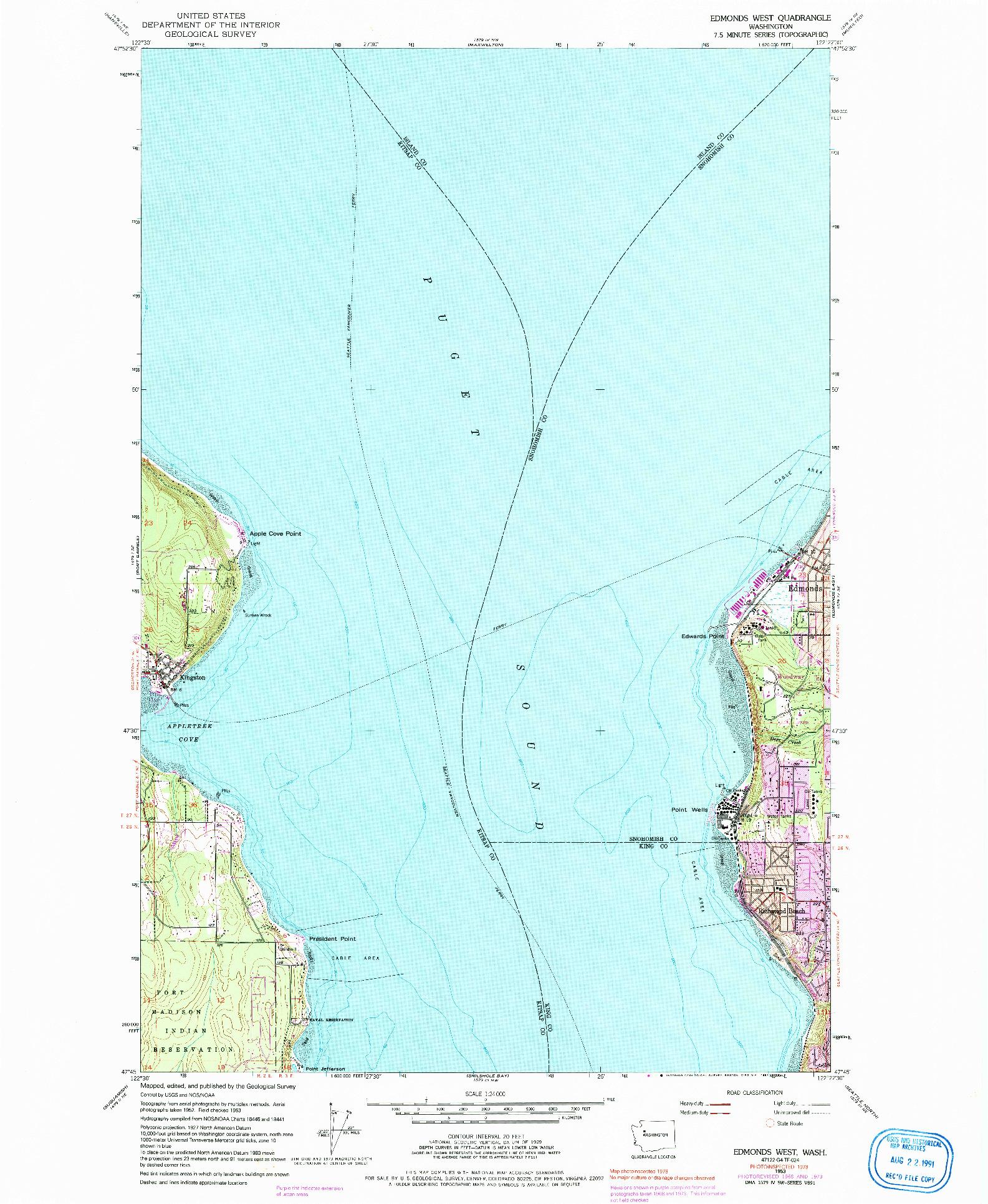 USGS 1:24000-SCALE QUADRANGLE FOR EDMONDS WEST, WA 1953