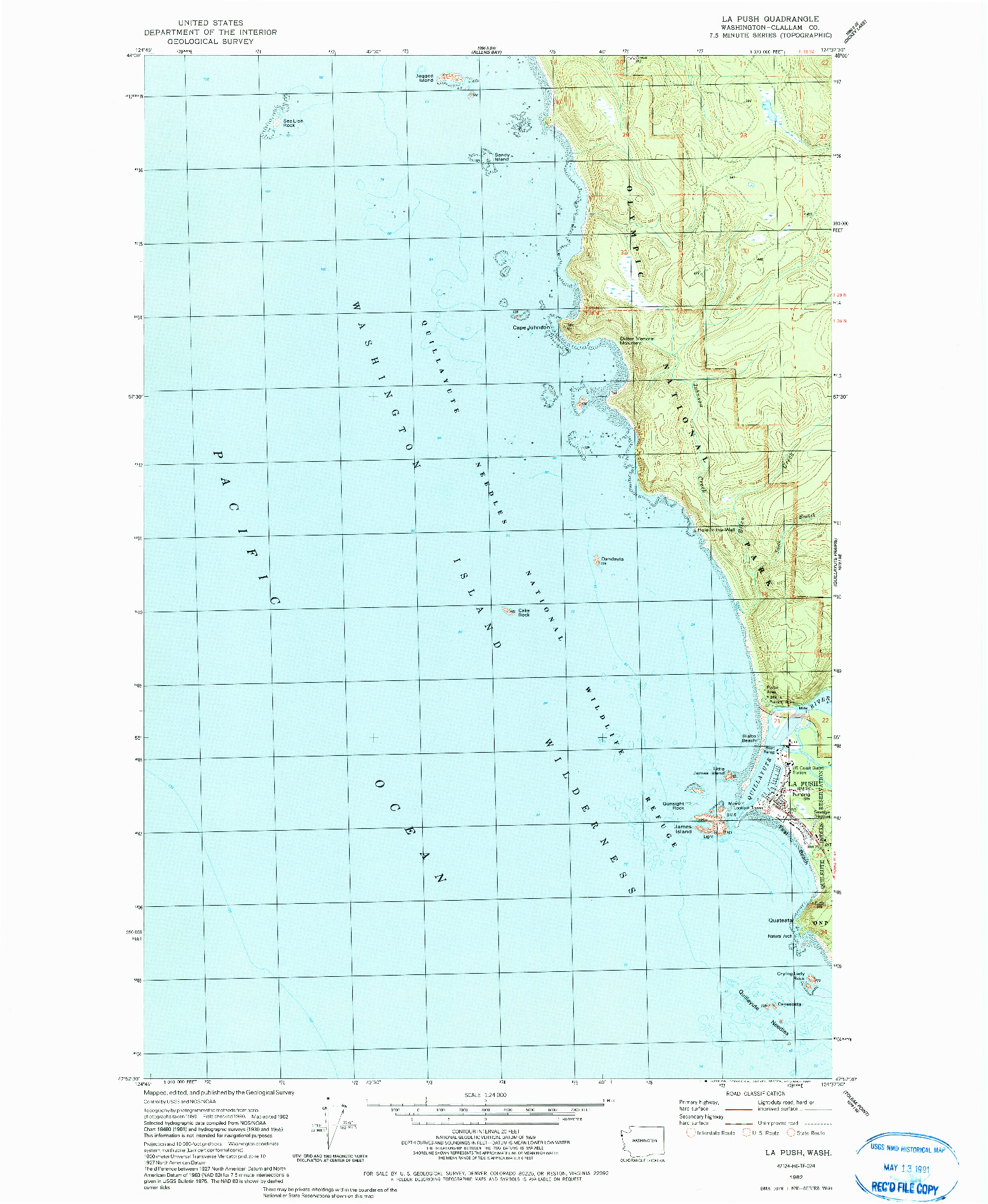 USGS 1:24000-SCALE QUADRANGLE FOR LA PUSH, WA 1982