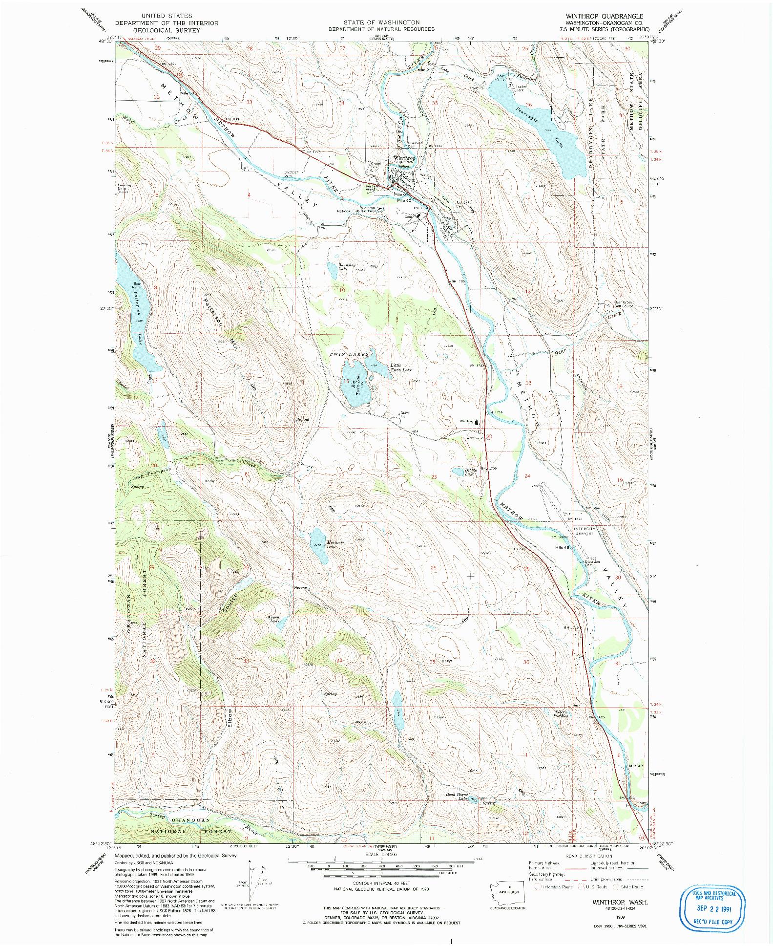 USGS 1:24000-SCALE QUADRANGLE FOR WINTHROP, WA 1969