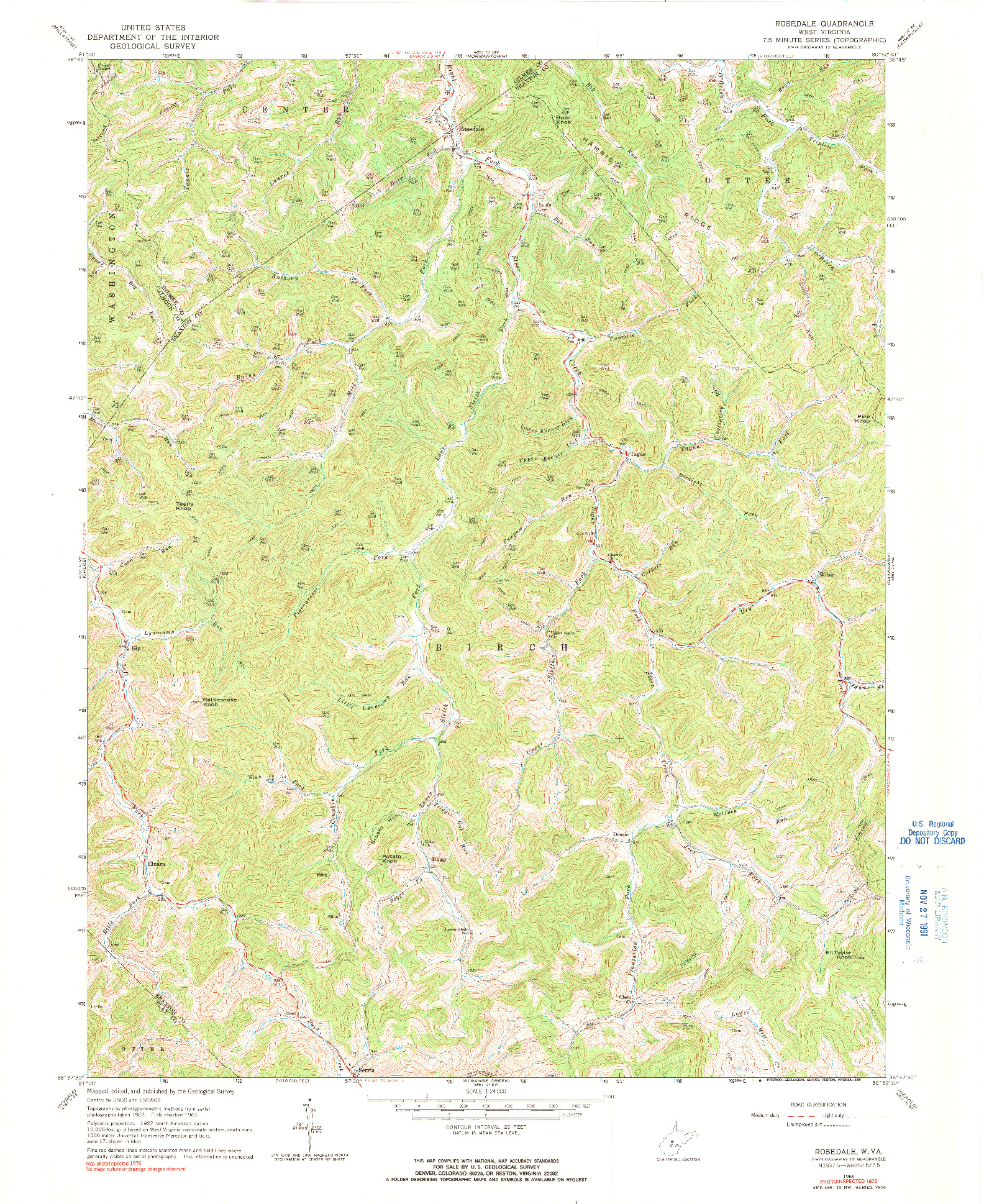 USGS 1:24000-SCALE QUADRANGLE FOR ROSEDALE, WV 1965