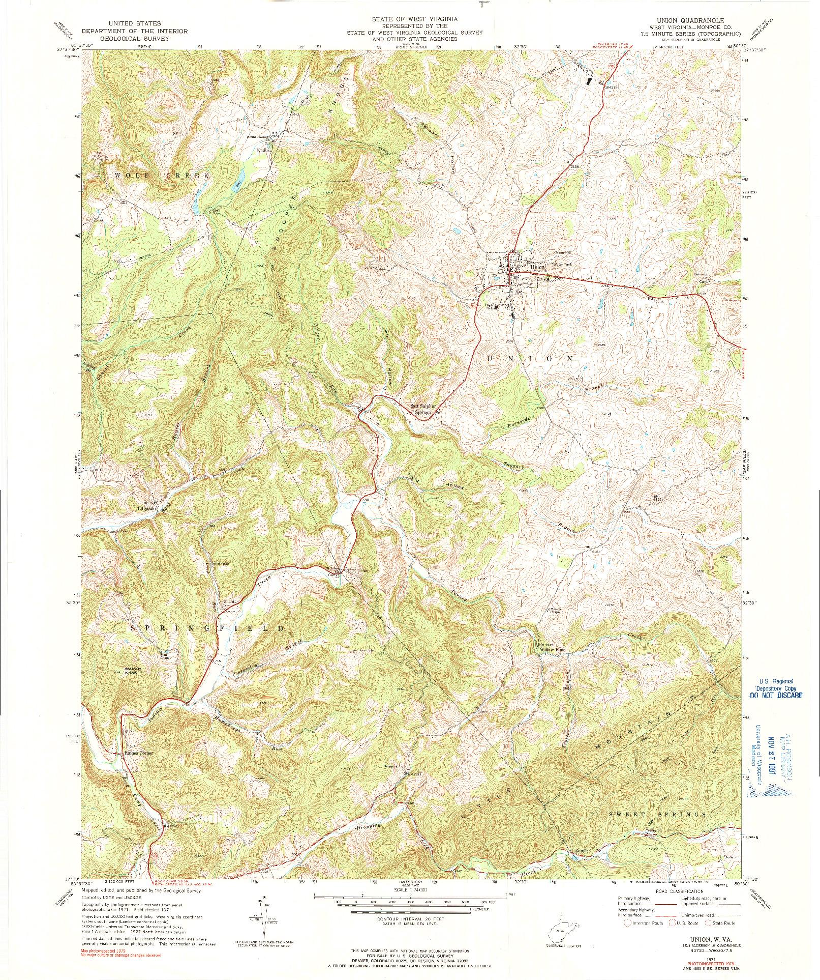 USGS 1:24000-SCALE QUADRANGLE FOR UNION, WV 1971