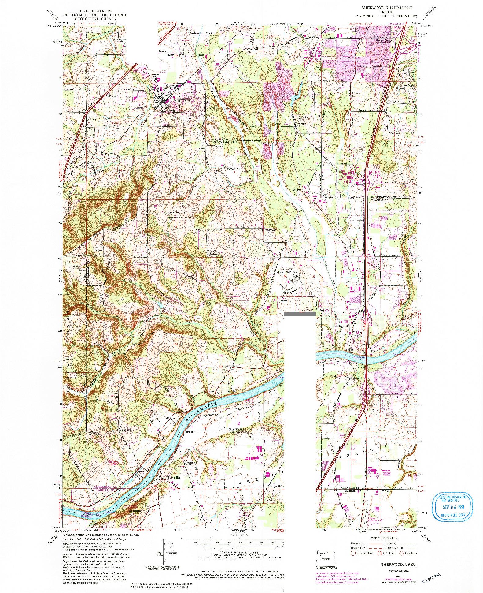 USGS 1:24000-SCALE QUADRANGLE FOR SHERWOOD, OR 1961