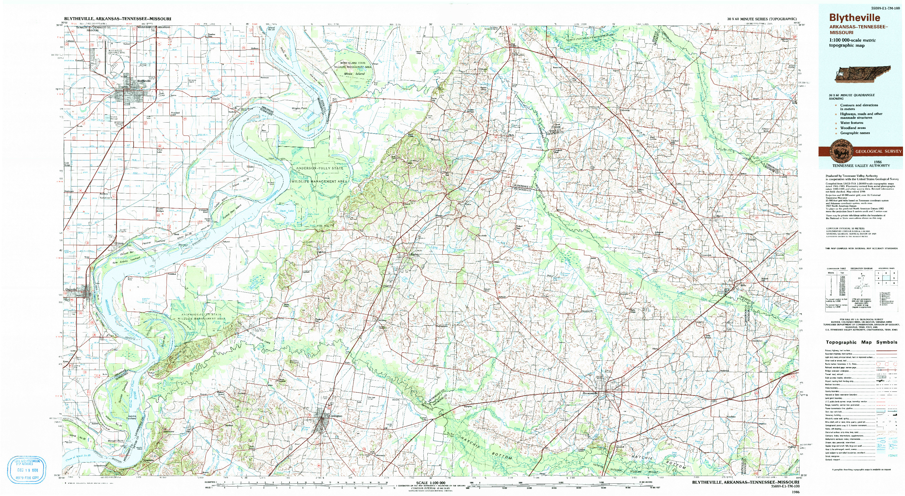 USGS 1:100000-SCALE QUADRANGLE FOR BLYTHEVILLE, AR 1986