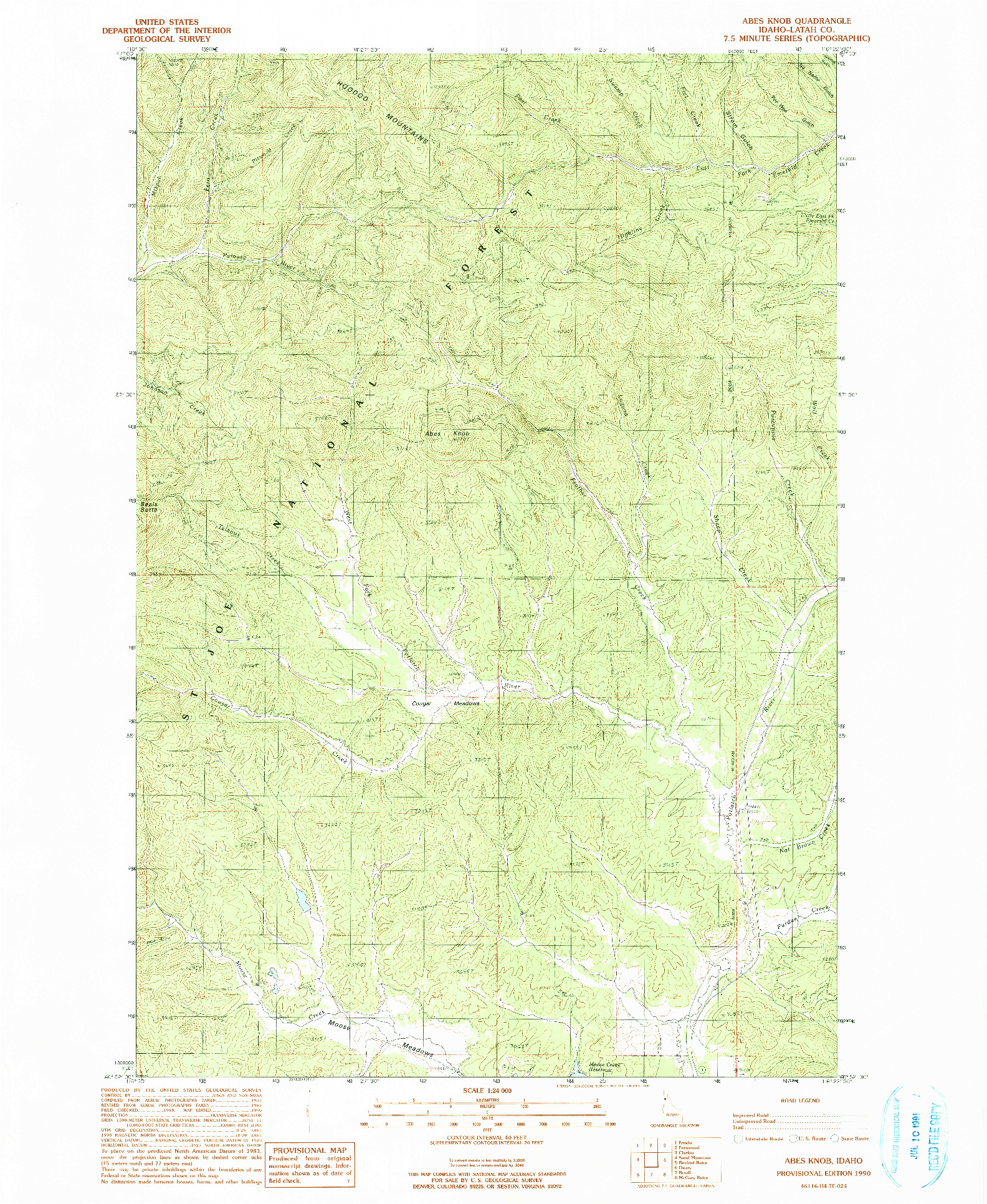 USGS 1:24000-SCALE QUADRANGLE FOR ABES KNOB, ID 1990