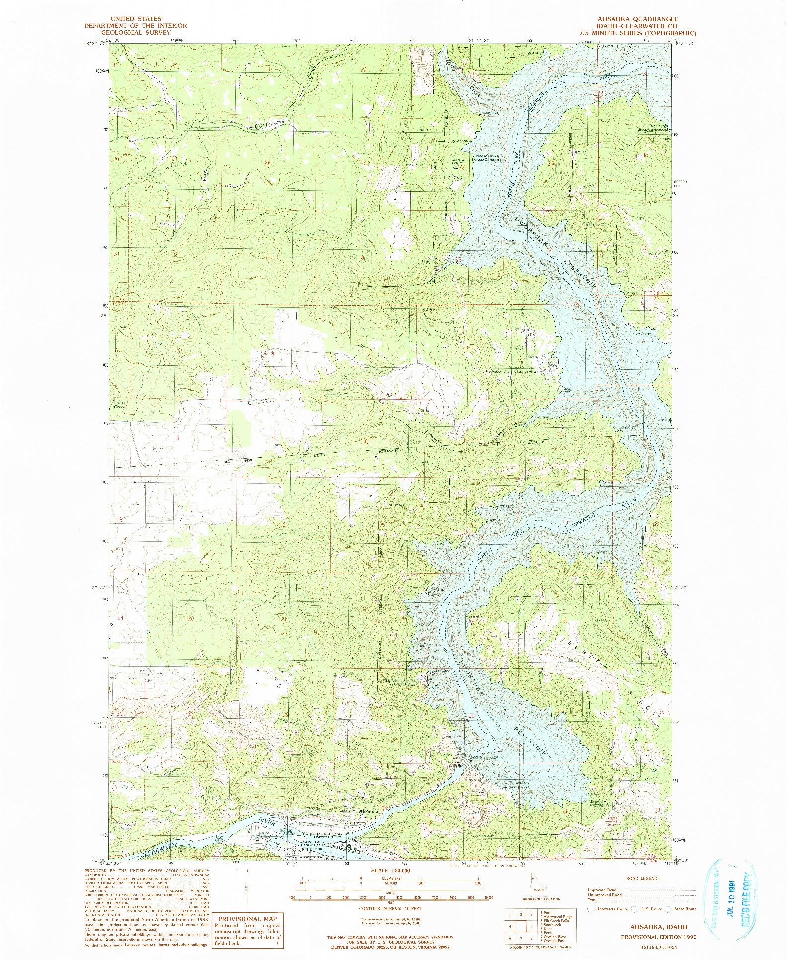 USGS 1:24000-SCALE QUADRANGLE FOR AHSAHKA, ID 1990